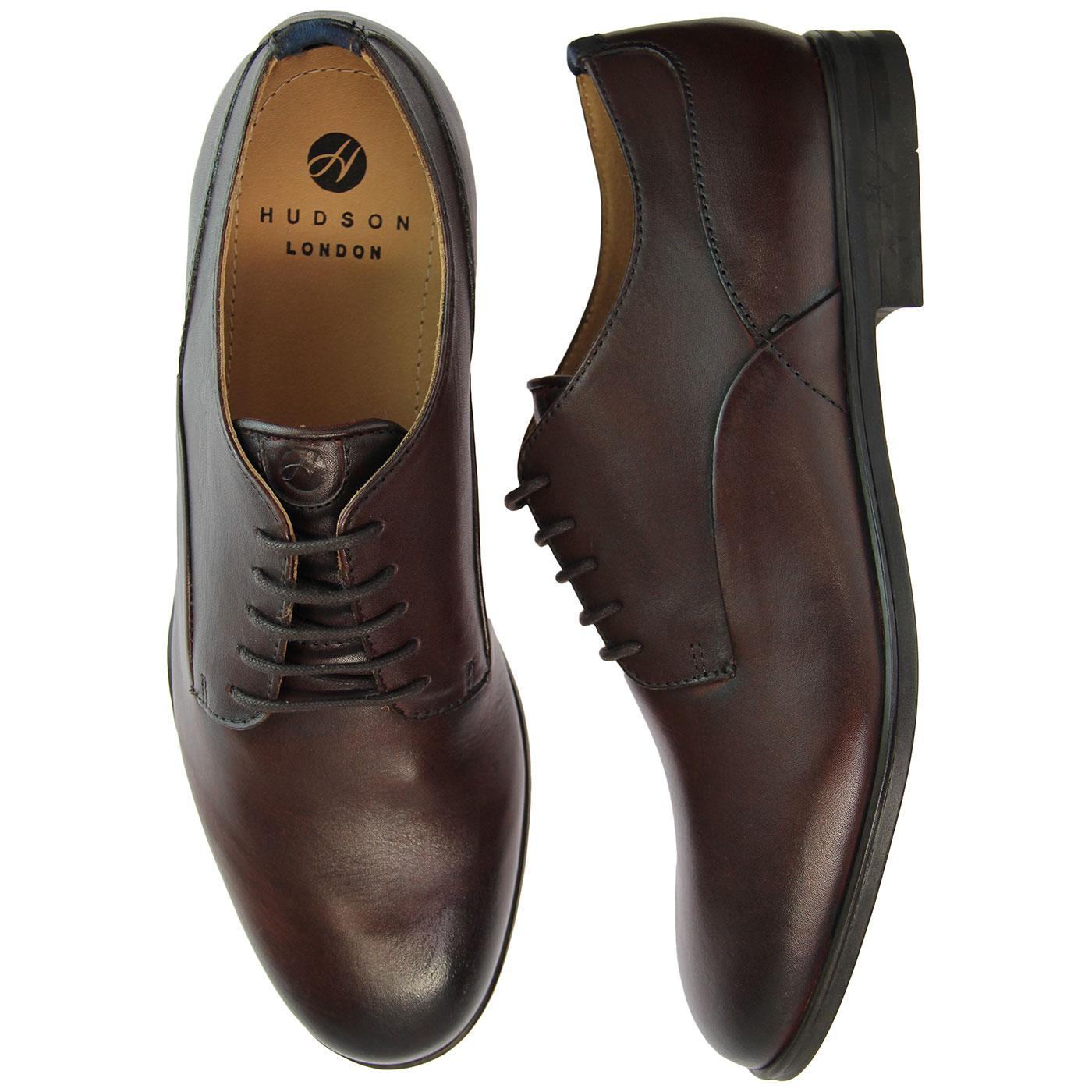 HUDSON Axminster 1960s Mod Leather Derby Shoes in Brown c004bdafa