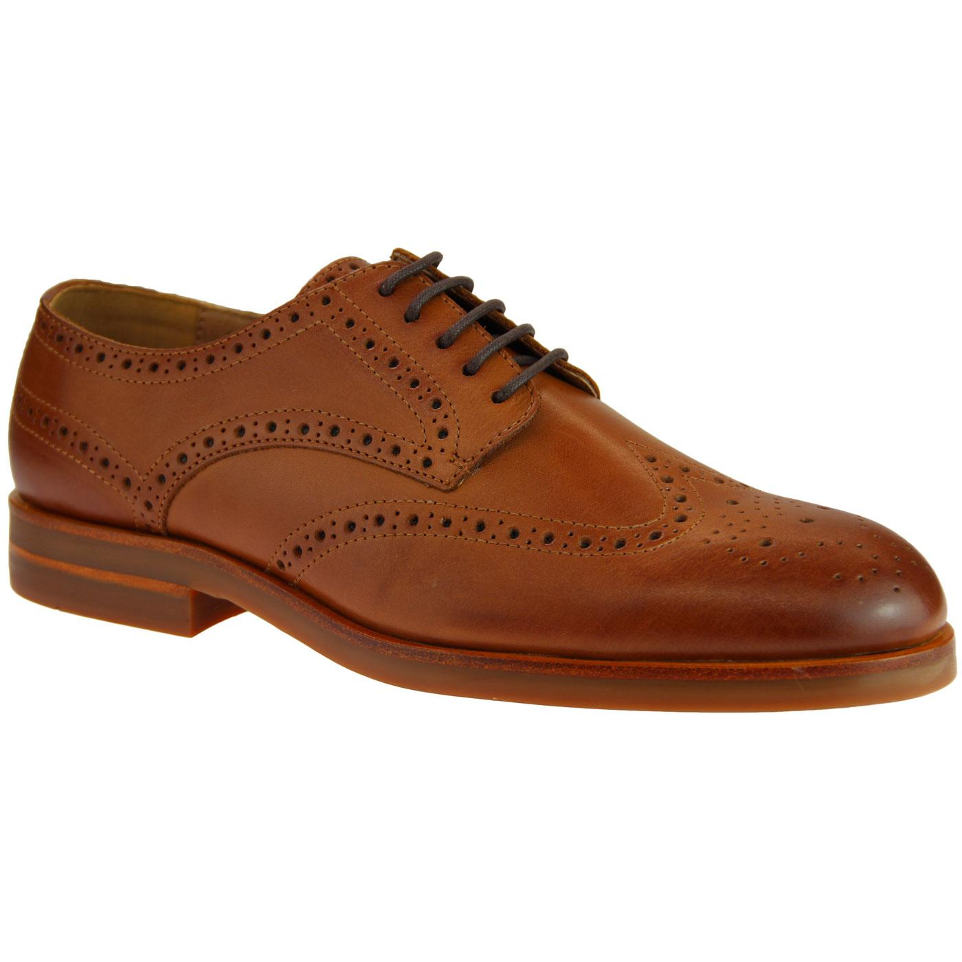 Ballater HUDSON Men's 60s Mod Wingtip Brogues TAN