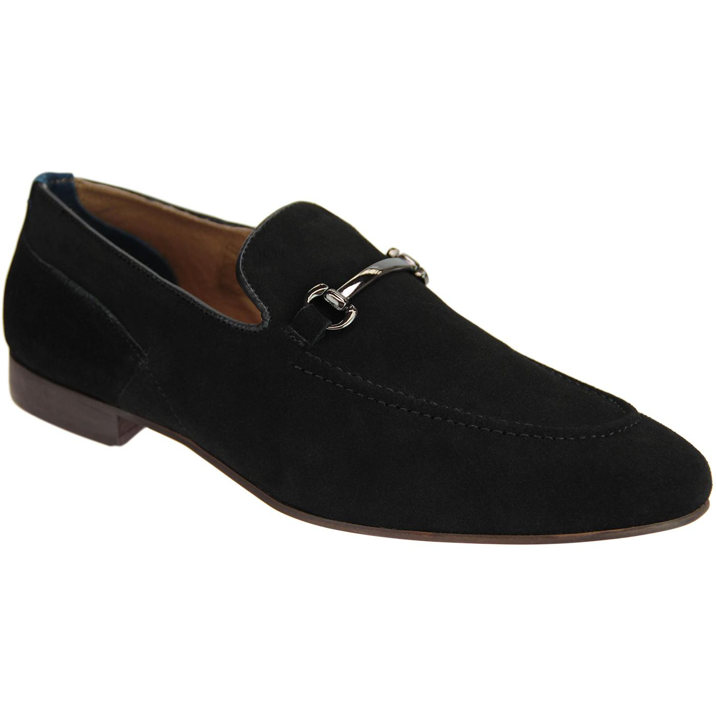 Banchory HUDSON Men's Retro Suede Loafers BLACK
