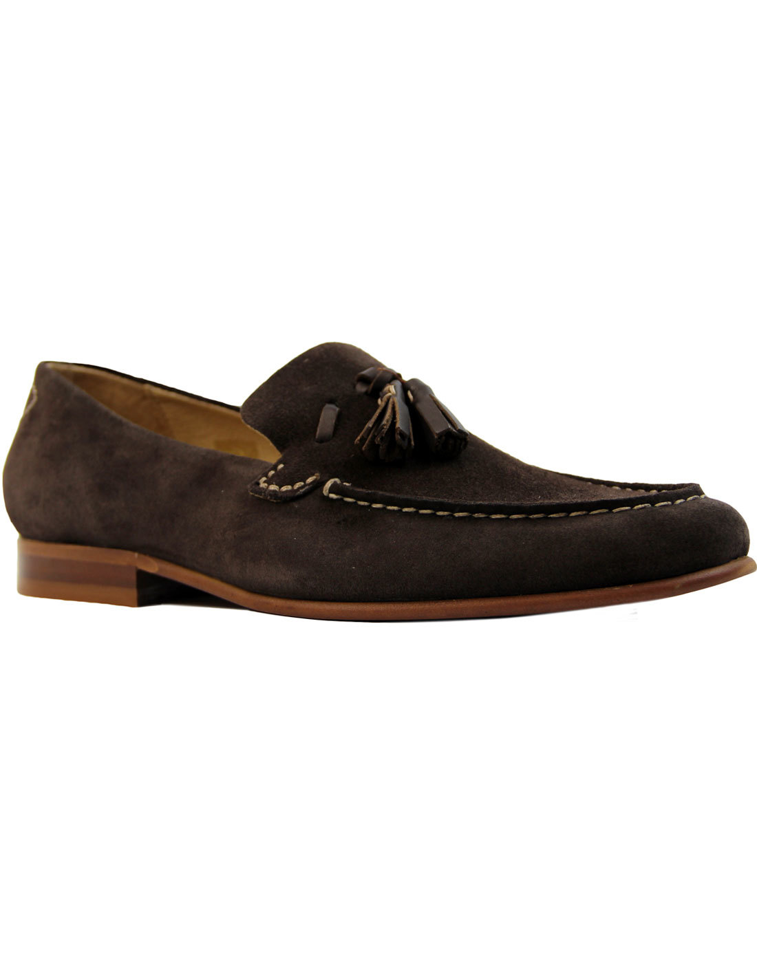 Bernini H by HUDSON Men's Mod Suede Loafers BROWN