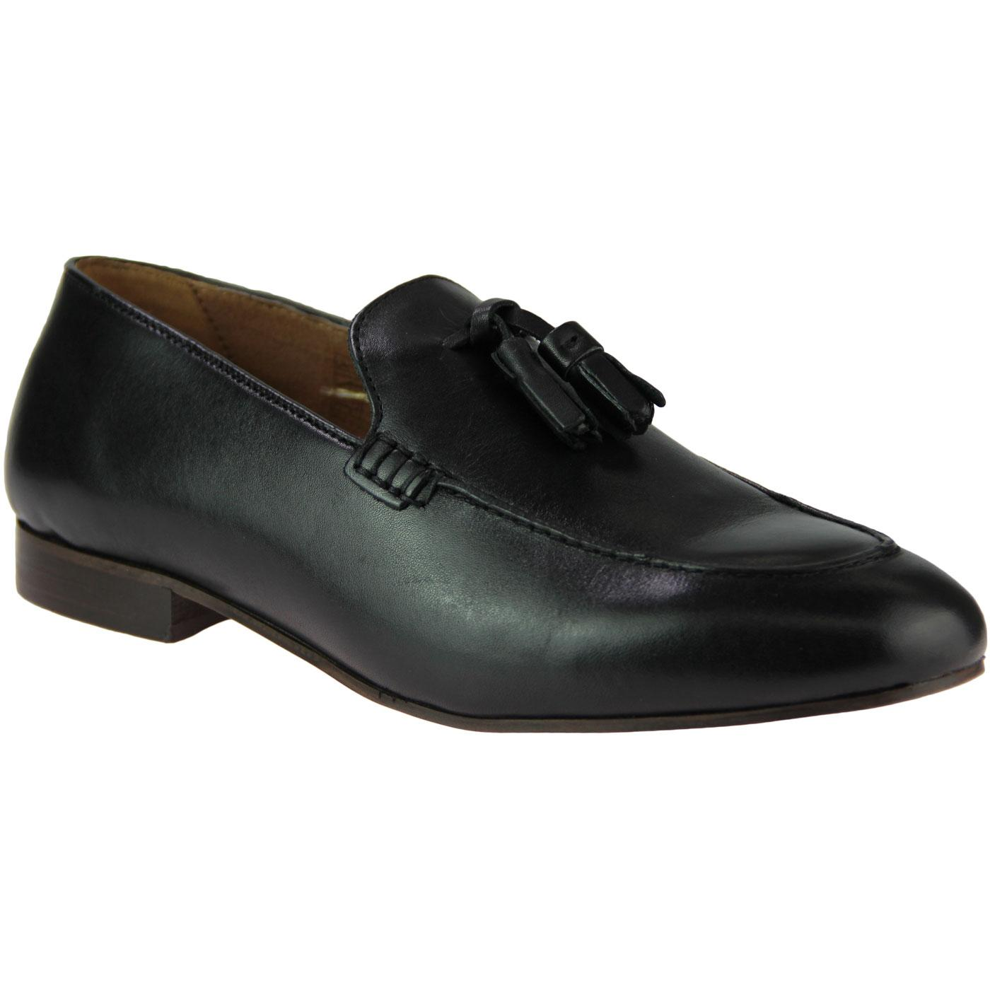 Bolton HUDSON 60s Mod Leather Tassel Loafers BLACK