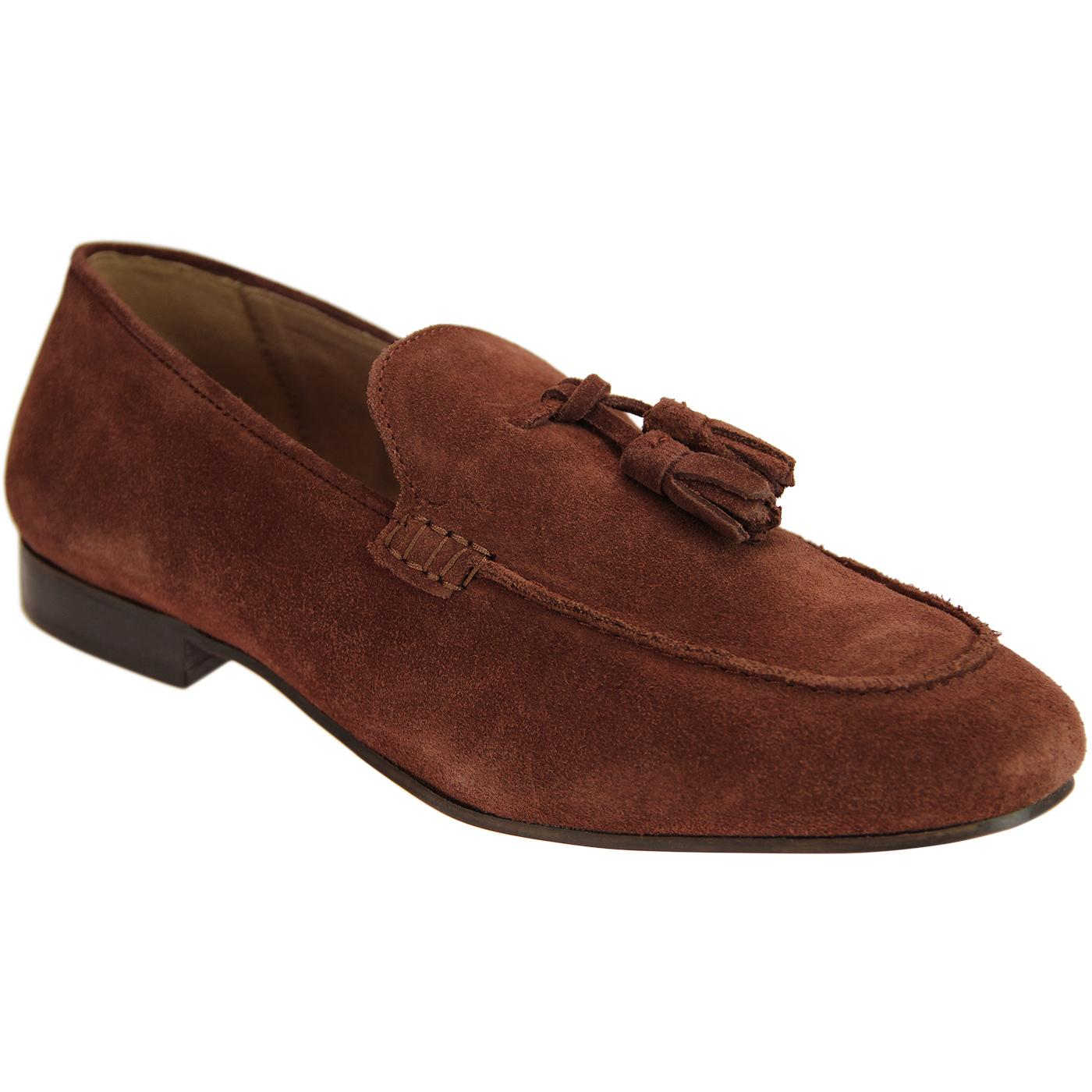 Bolton HUDSON Retro Mod Suede Tassel Loafers RUST