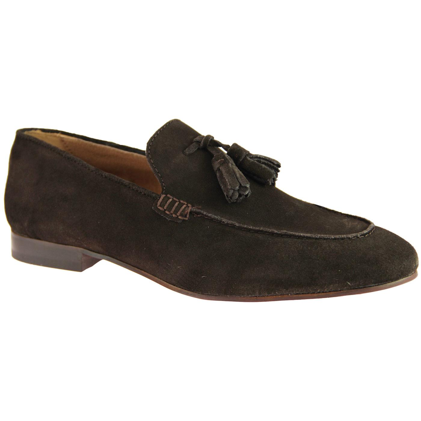 Bolton HUDSON Retro Mod Suede Tassel Loafers BROWN