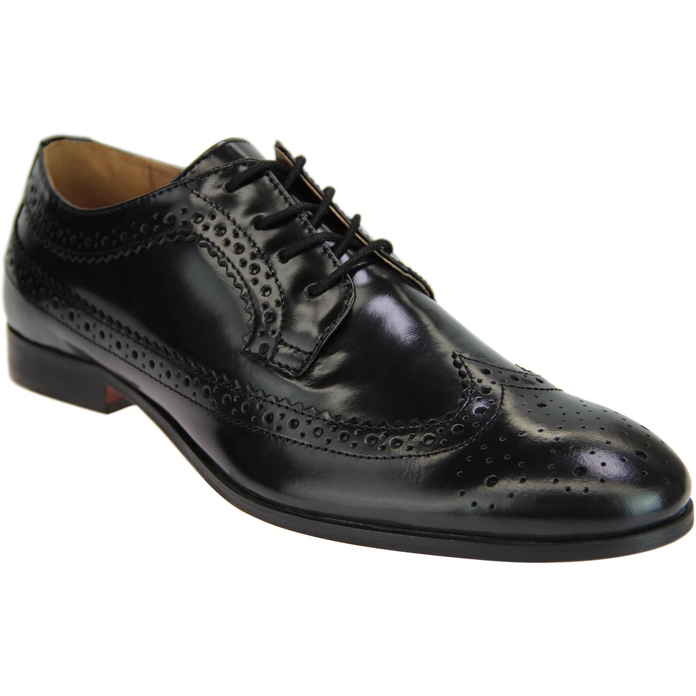 Crowthorne HUDSON 60s Mod Leather Brogues (Black)