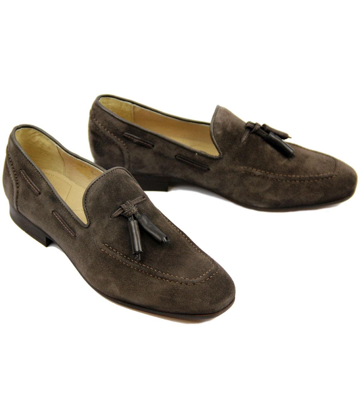 c77ec6ca576 H by HUDSON Pierre Retro 60s Mod Brown Suede Loafer Shoes