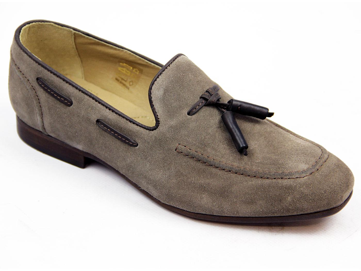 Pierre H by HUDSON Retro Mod Suede Loafers (Taupe)
