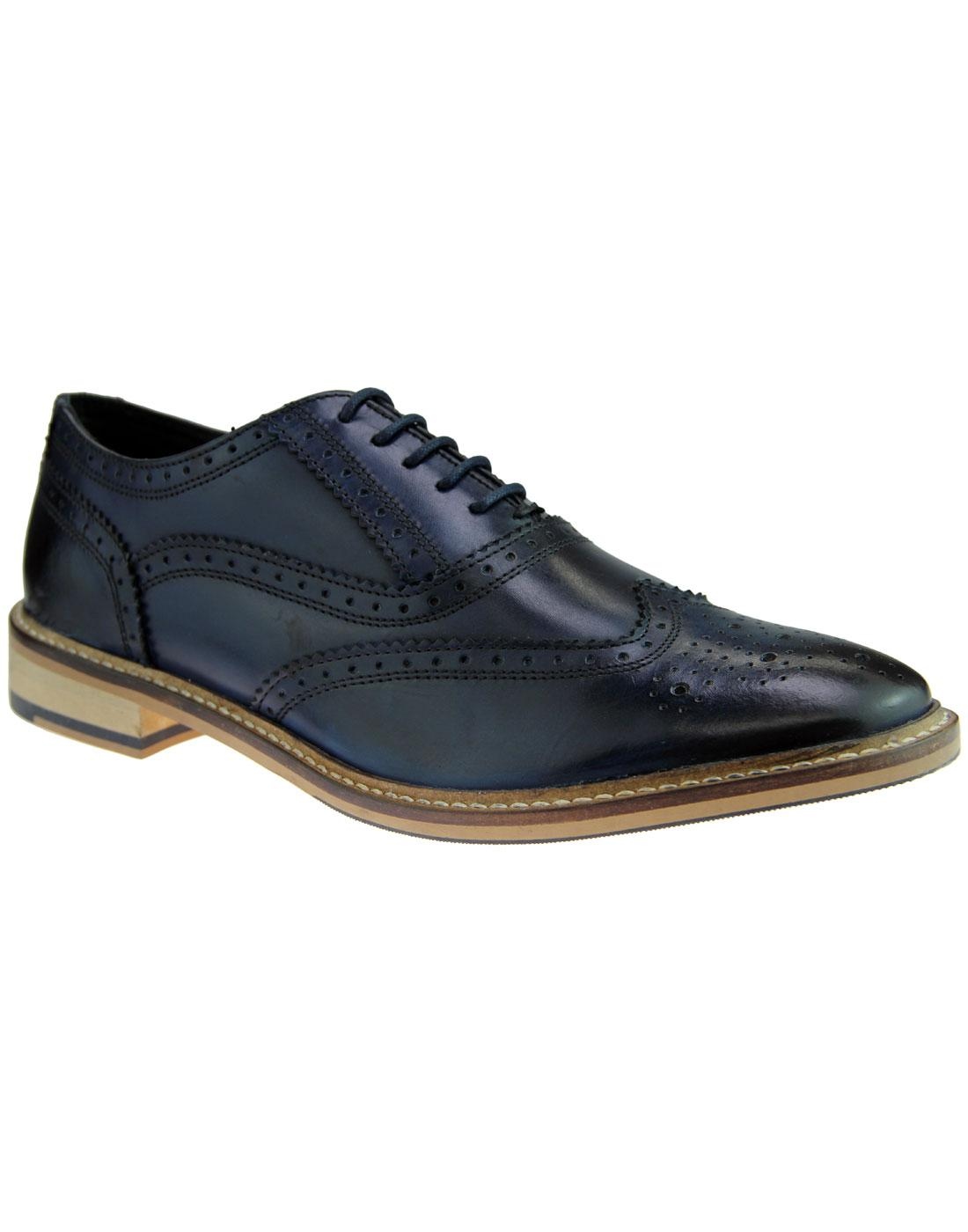 Buster IKON Mens Mod Rub Off Leather Brogues NAVY