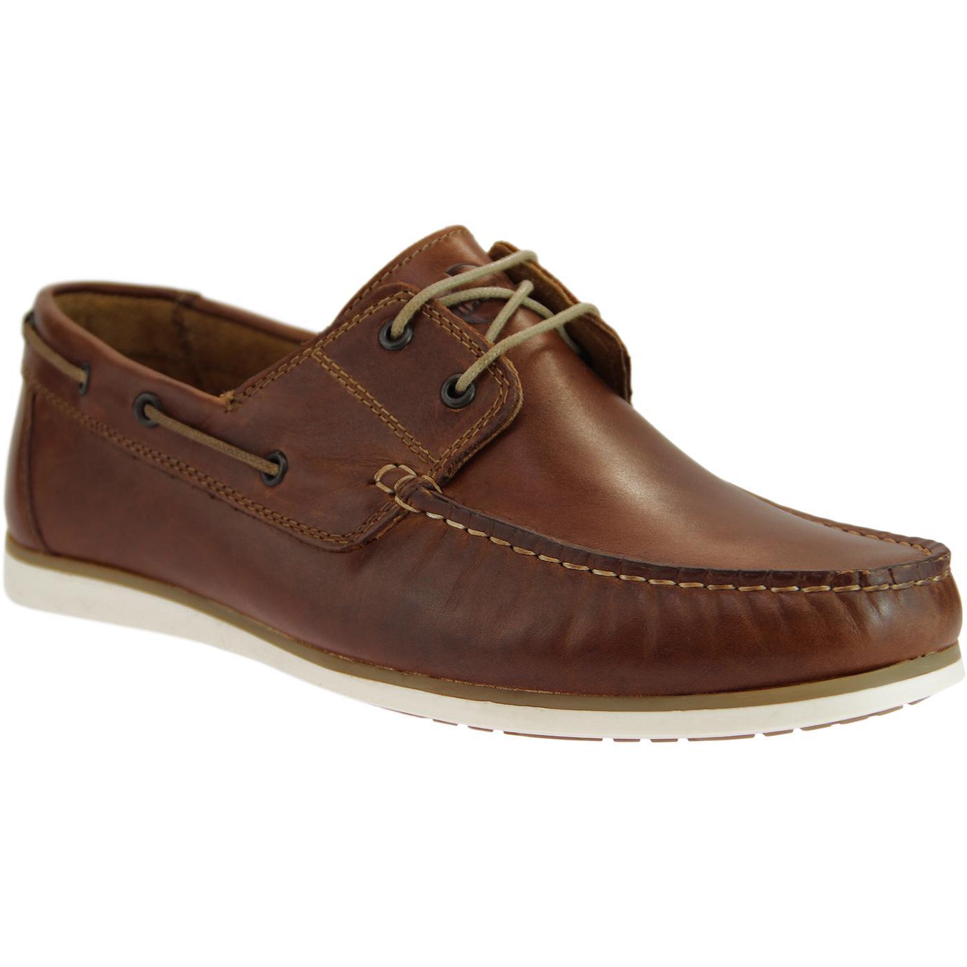 Orlando IKON Retro Mod Leather Boat Shoes (Tan)