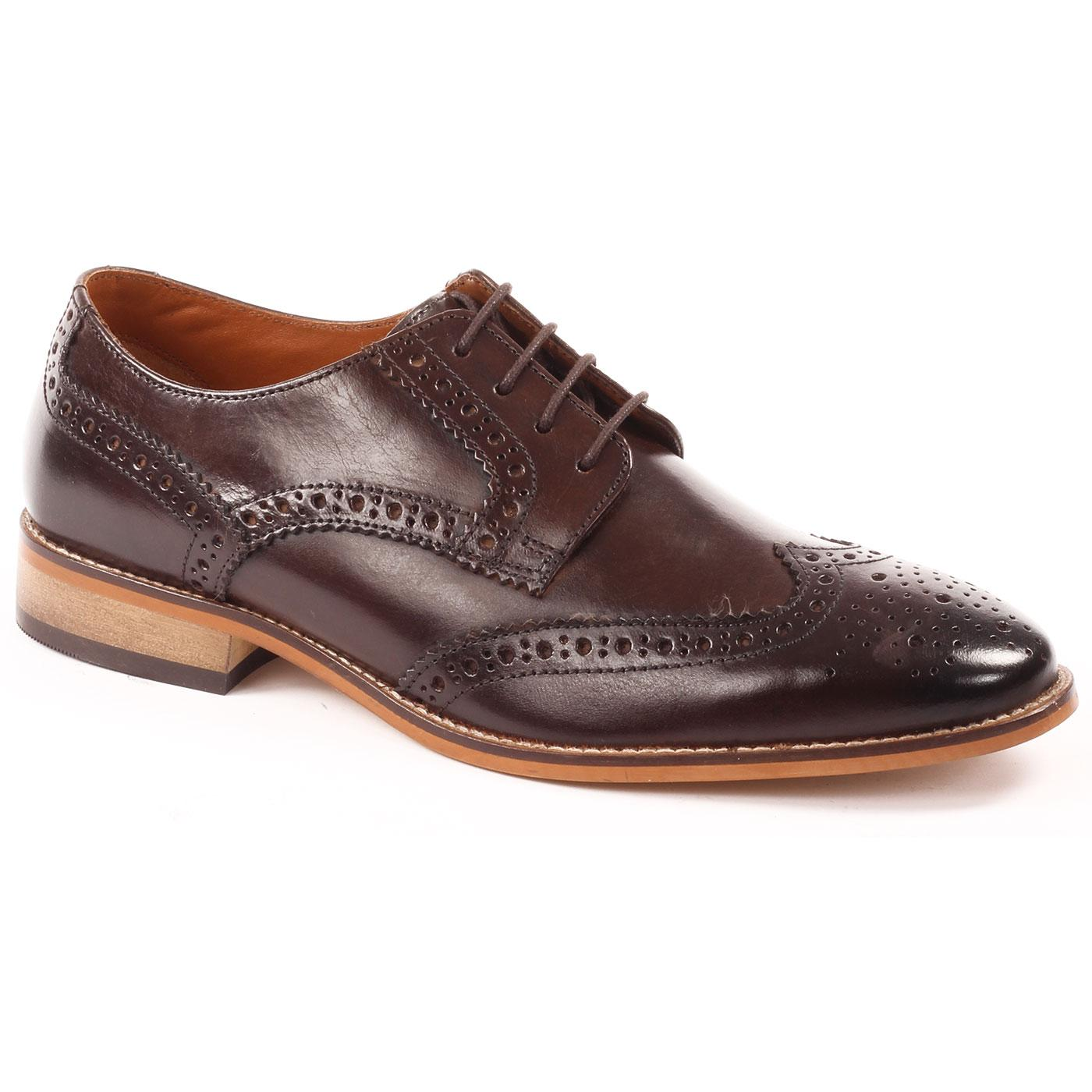Thorpe IKON 60s Mod Leather Wingtip Brogues BROWN