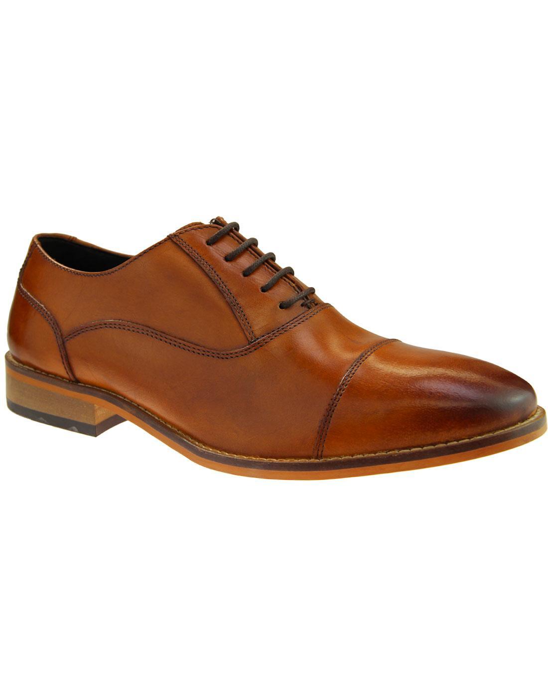 Toby IKON Men's Retro Mod Toe Cap Oxford Shoes TAN