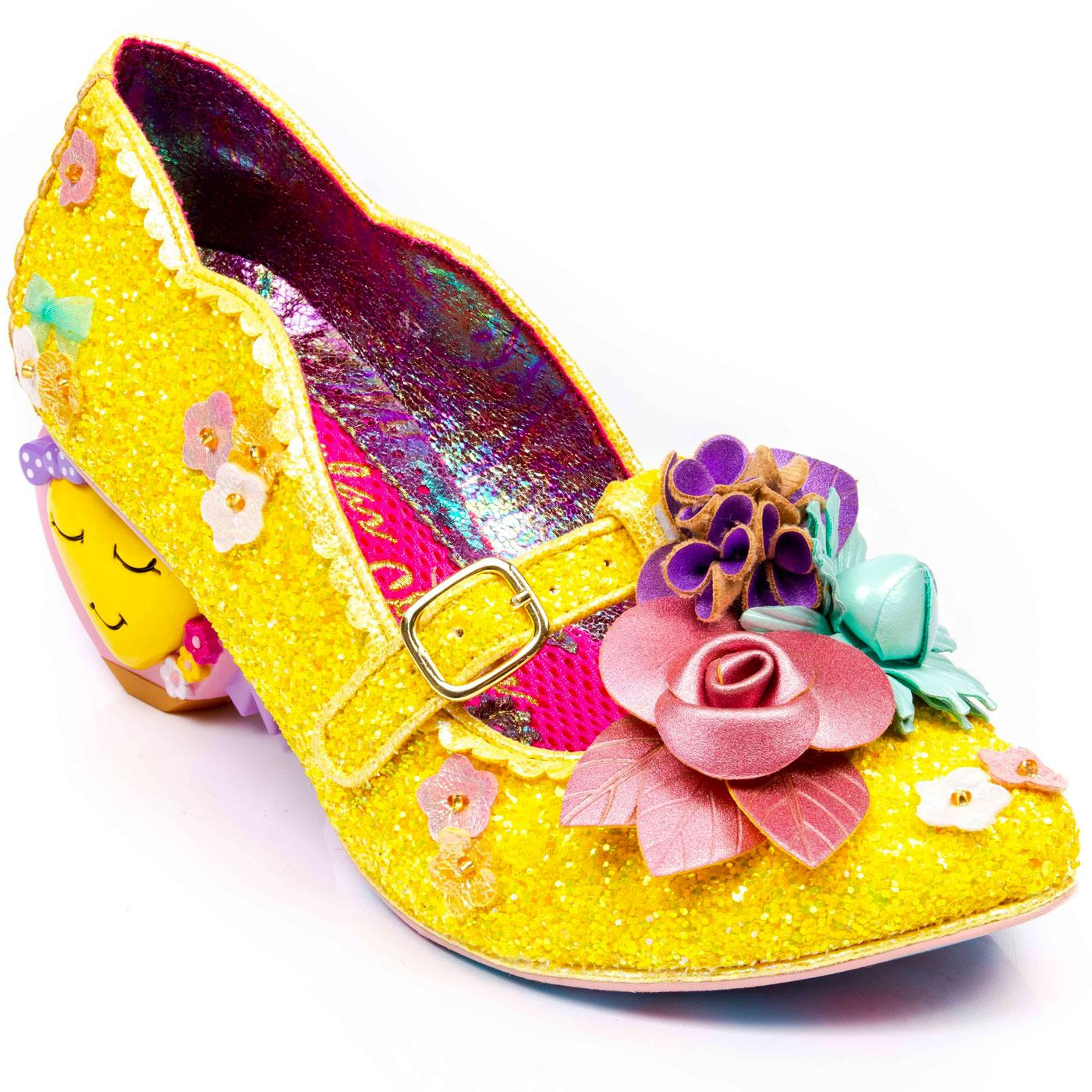 Amare IRREGULAR CHOICE Glitter Heart Heels Gold