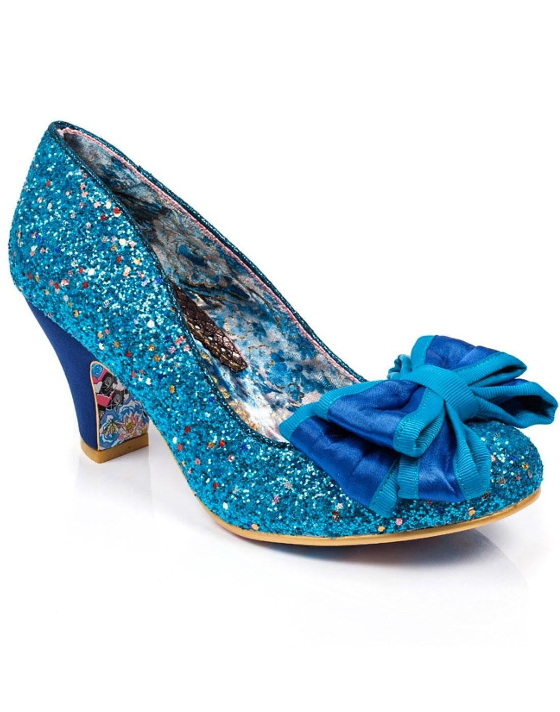 Ban Joe IRREGULAR CHOICE Blue Glitter Retro Heels