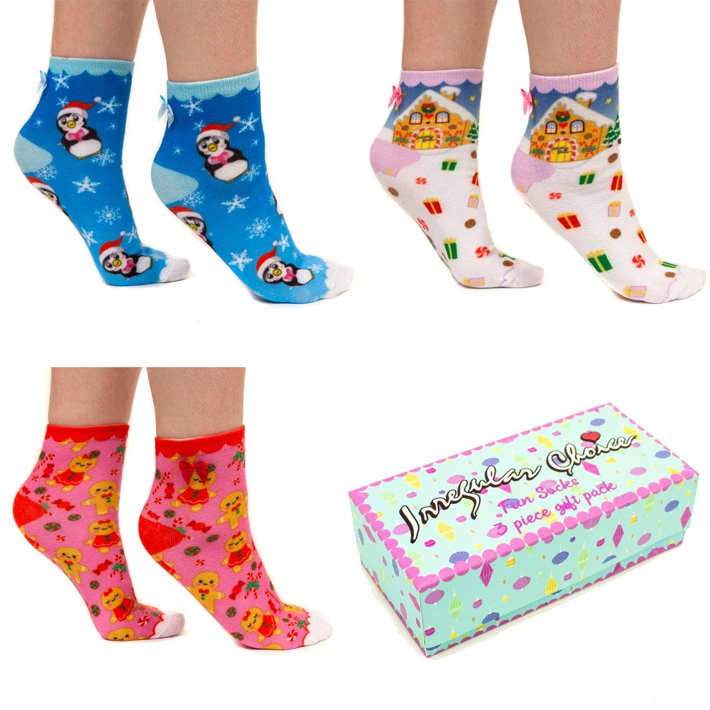 3 Pairs Of IRREGULAR CHOICE Xmas Socks Gift Set