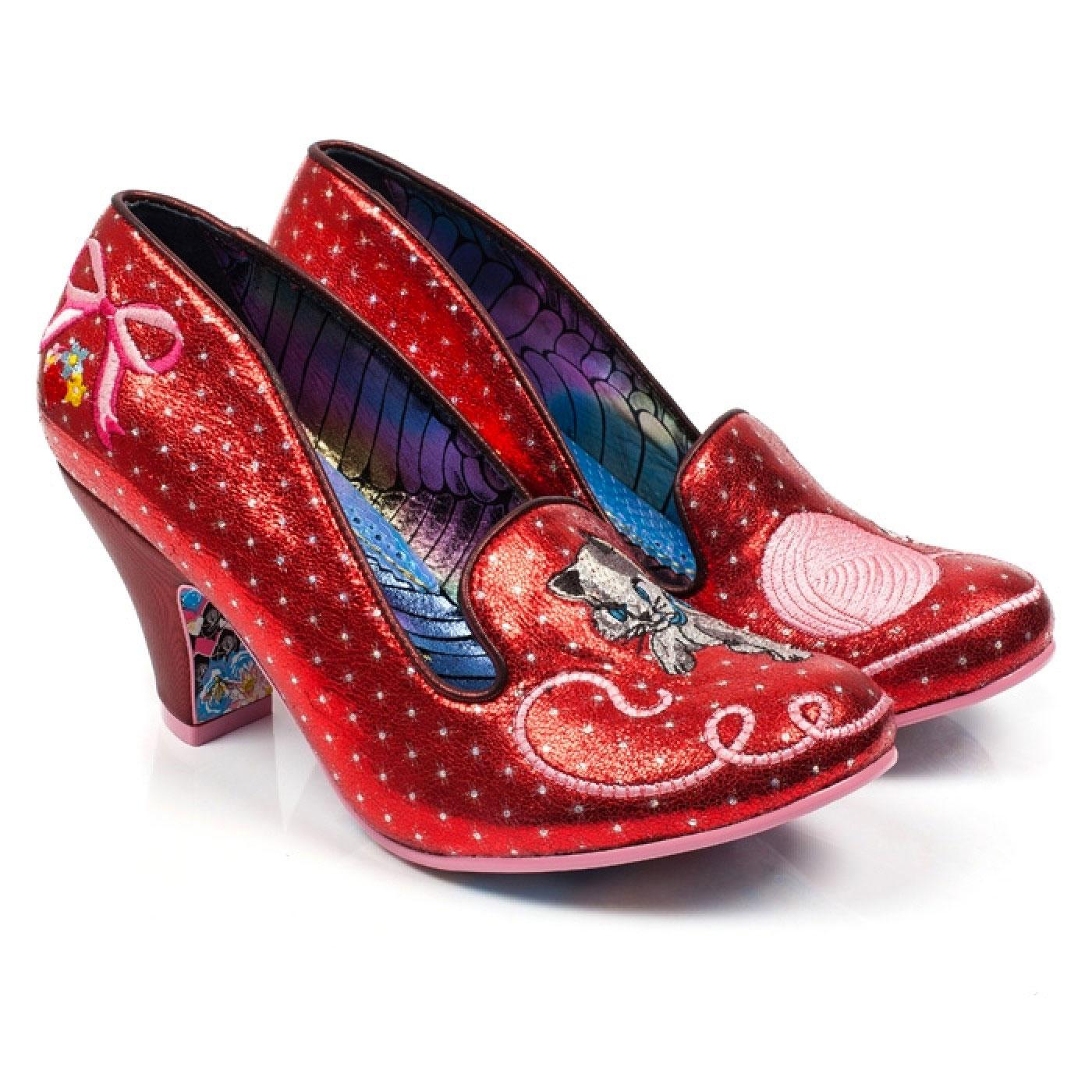Fuzzy Peg IRREGULAR CHOICE Kitty Shoes in Red