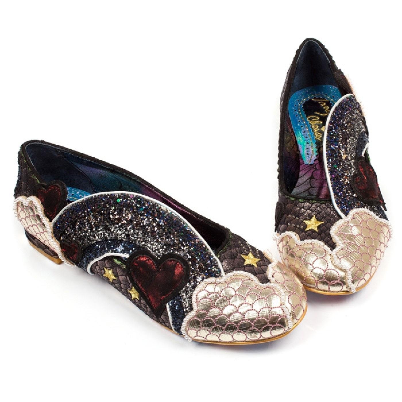 Holiday Romance IRREGULAR CHOICE Rainbow Flats Black