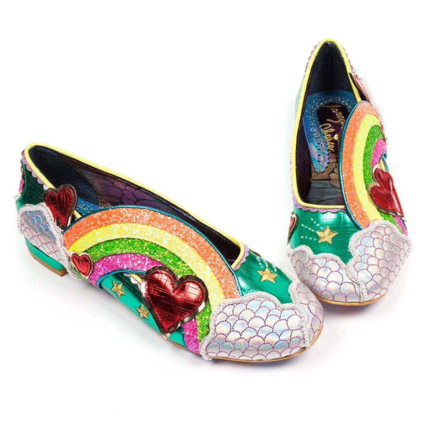 Holiday Romance IRREGULAR CHOICE Rainbow Flats Green