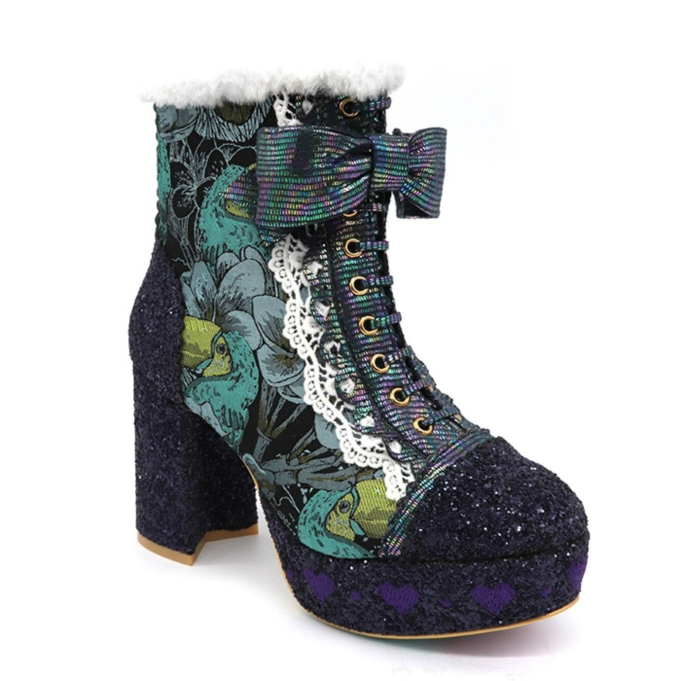 Let It Be IRREGULAR CHOICE 70s Platform Boots Blue