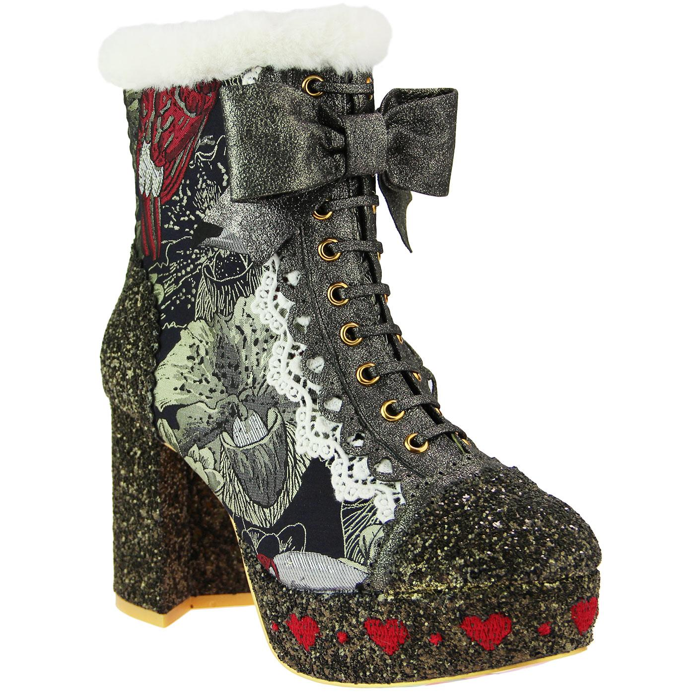 Let It Be IRREGULAR CHOICE Retro Platform Boots Mustard