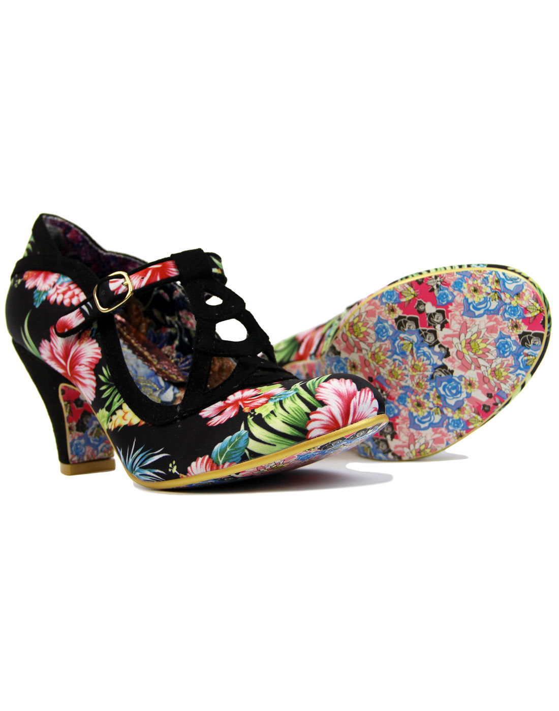 3ce22c54699 IRREGULAR CHOICE Nicely Done Retro Floral T-Bar Heels in Black