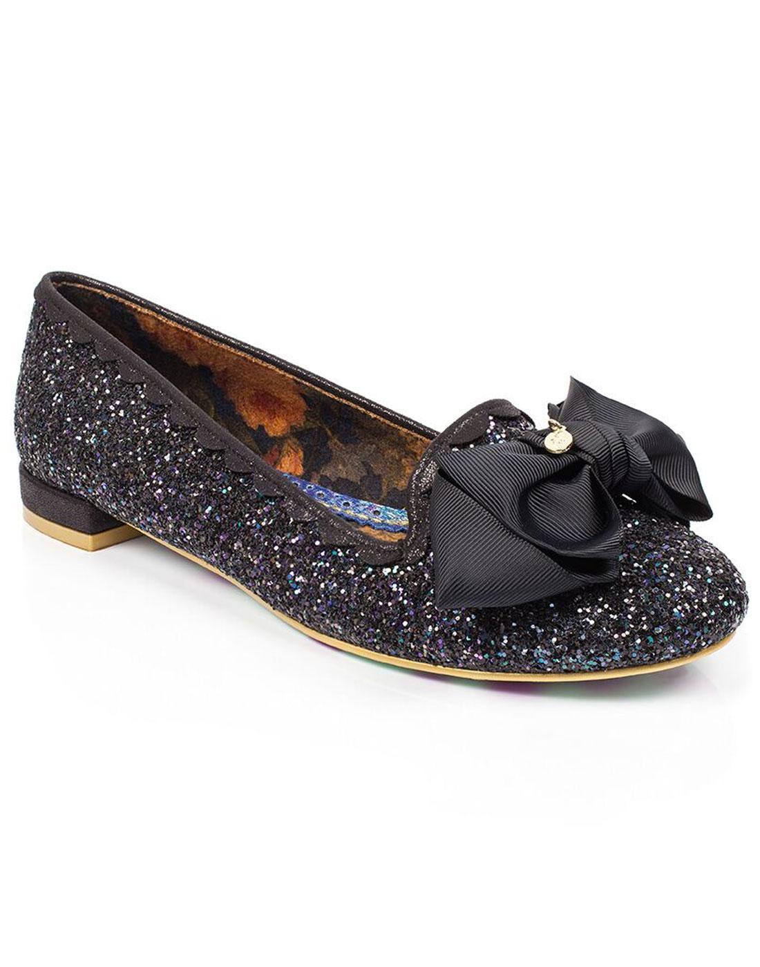 Sulu IRREGULAR CHOICE Retro 50s Glitter Bow Flats