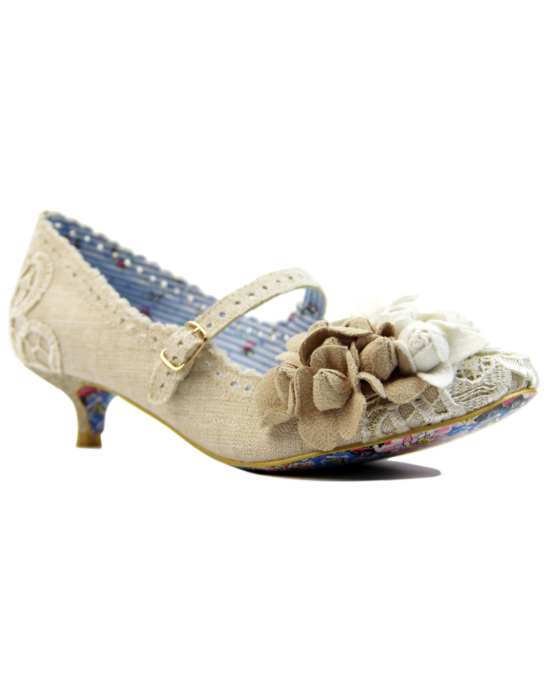dca7234dace IRREGULAR CHOICE Daisy Dayz Retro 50s Hessian Flower Kitten Heels