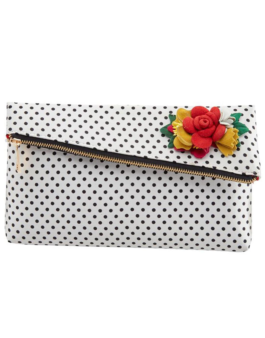 Meryl Bag JOE BROWNS Vintage Polkadot Clutch Bag