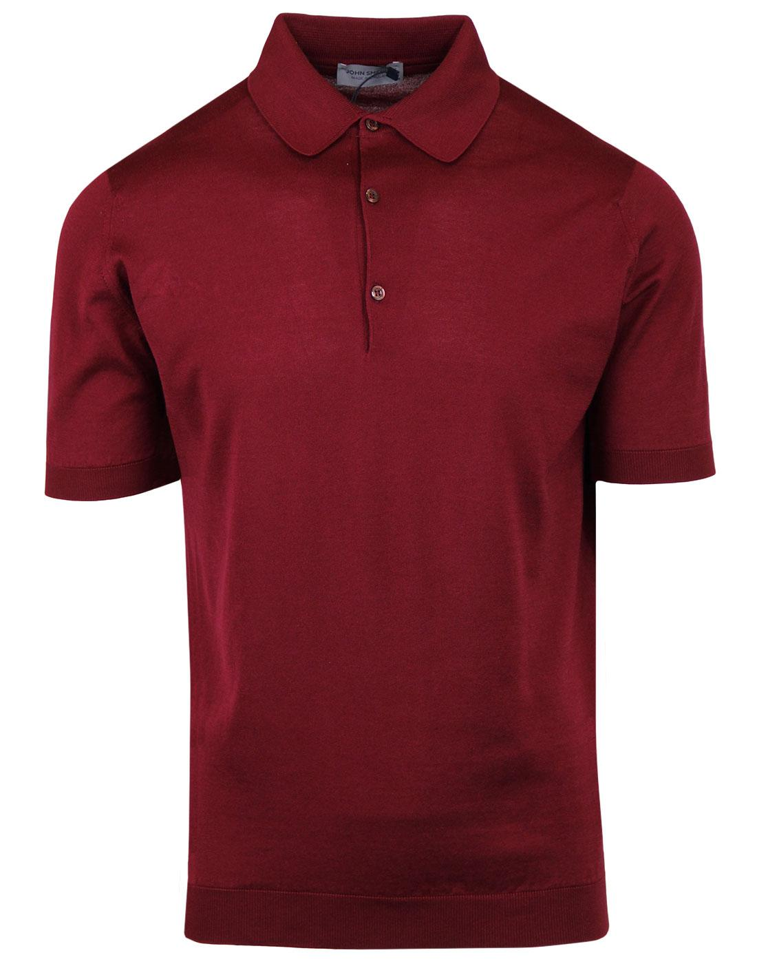 Adrian JOHN SMEDLEY Mod Knitted Polo Top BURGUNDY