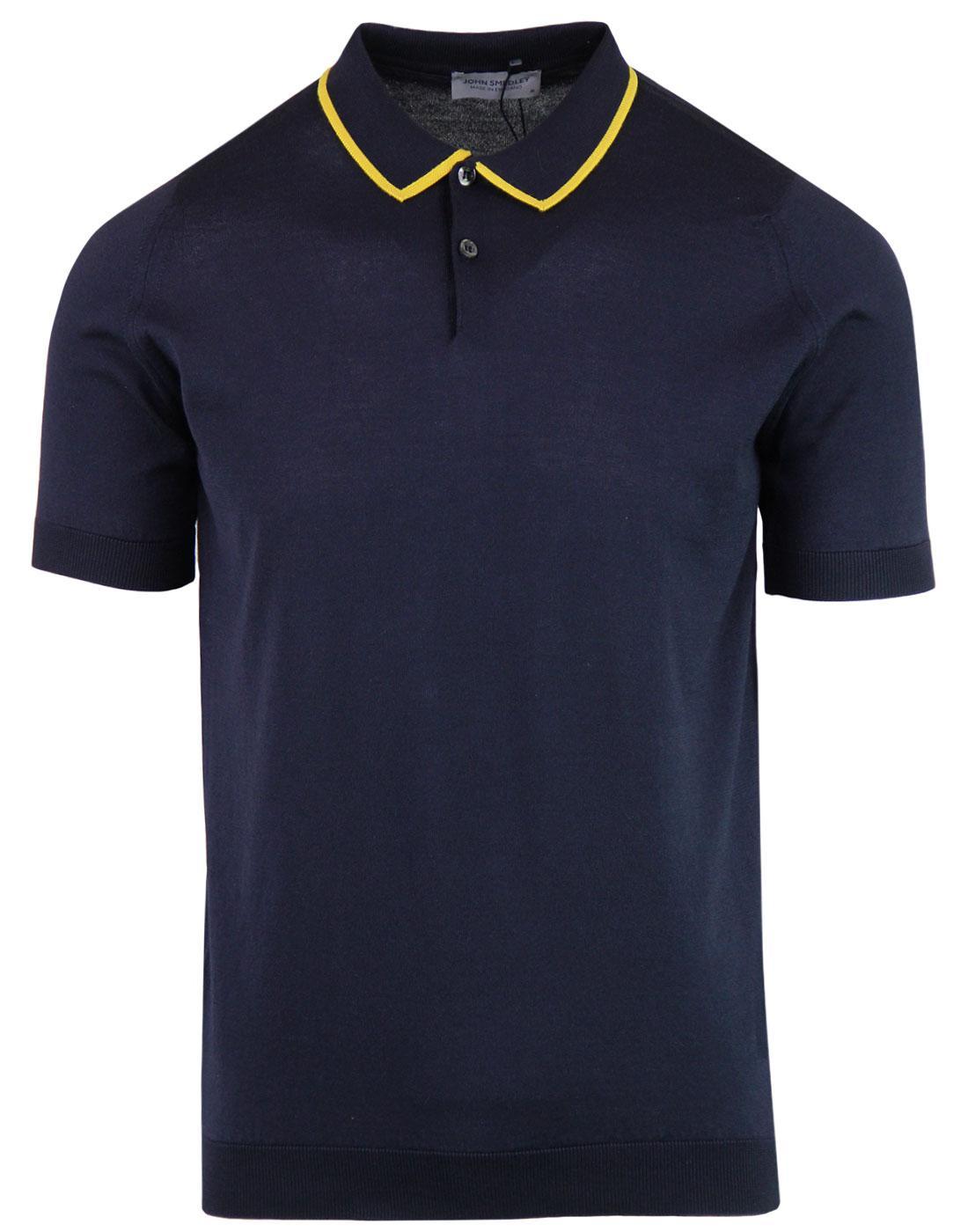 Klerk JOHN SMEDLEY 60s Mod Tipped Knit Polo Top N