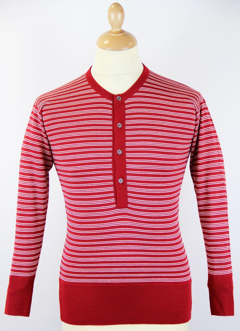 1011MSIG JOHN SMEDLEY Retro Mod Stripe Grandad Top