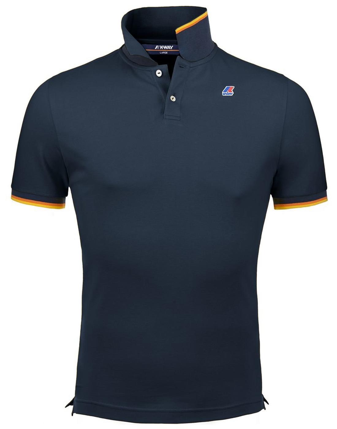 Vincent K-WAY Men's Retro Pique Polo Shirt in Navy