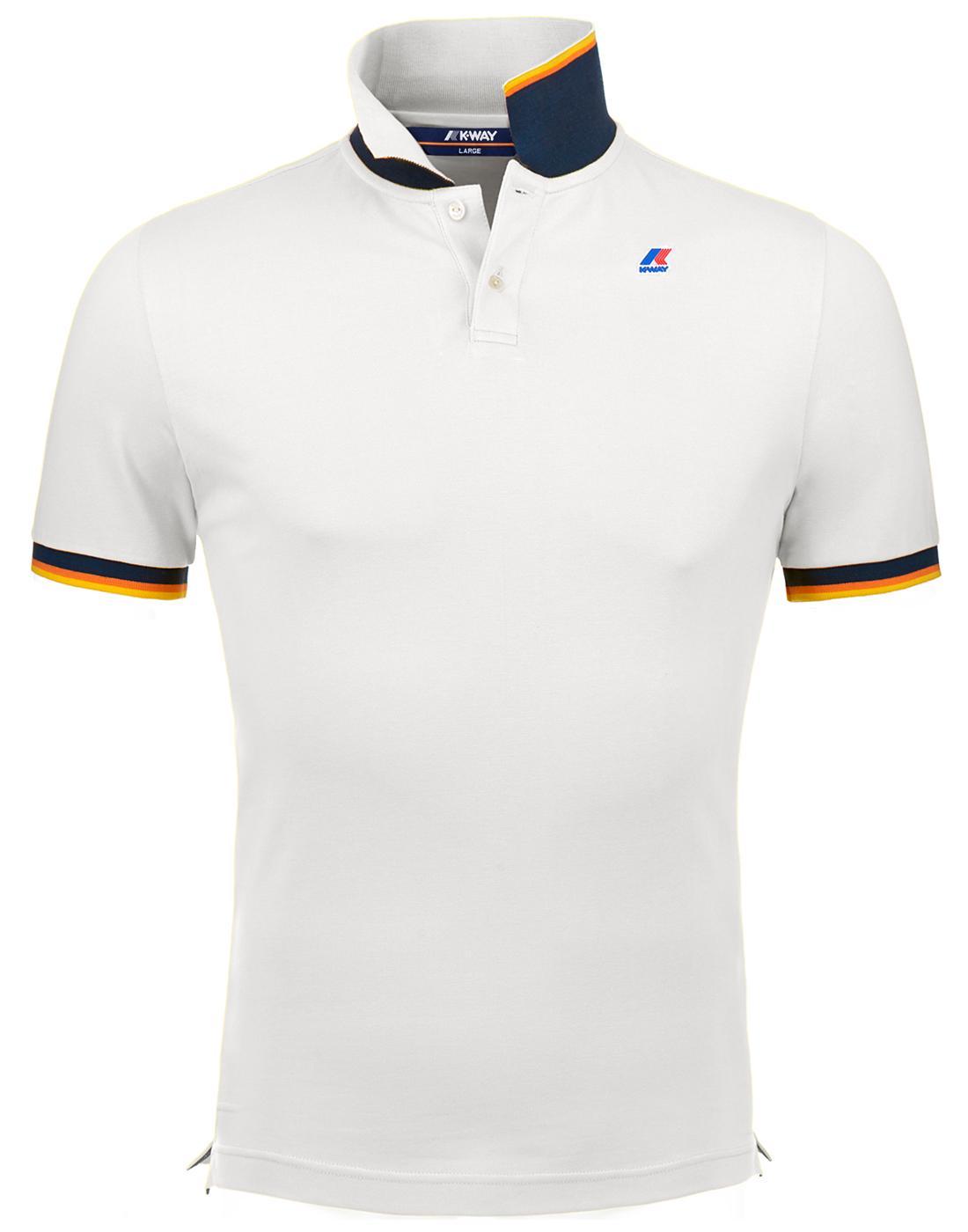 Vincent K-WAY Men's Retro Pique Polo Shirt White