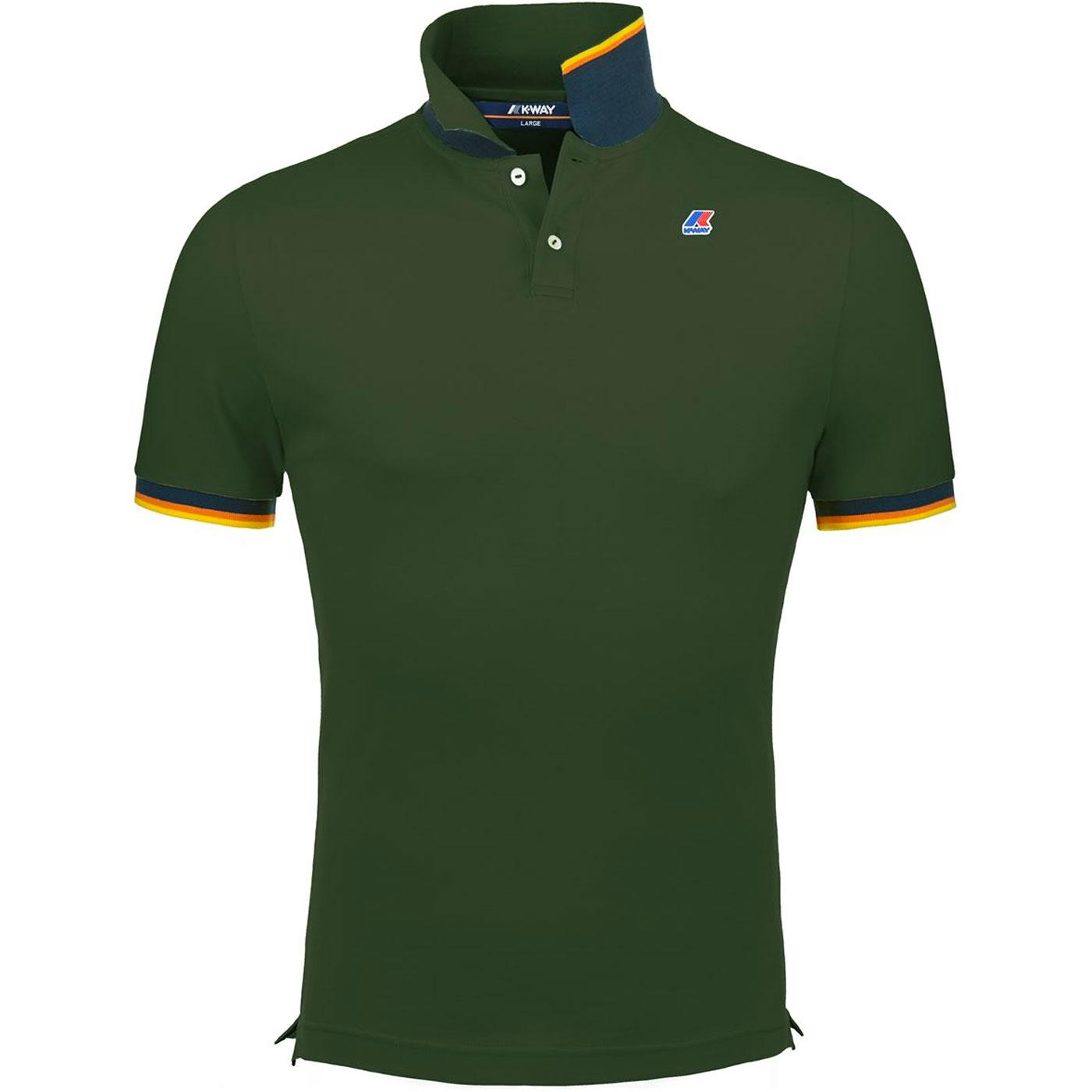 Vincent K-WAY Men's Retro Mod Pique Polo Top GREEN