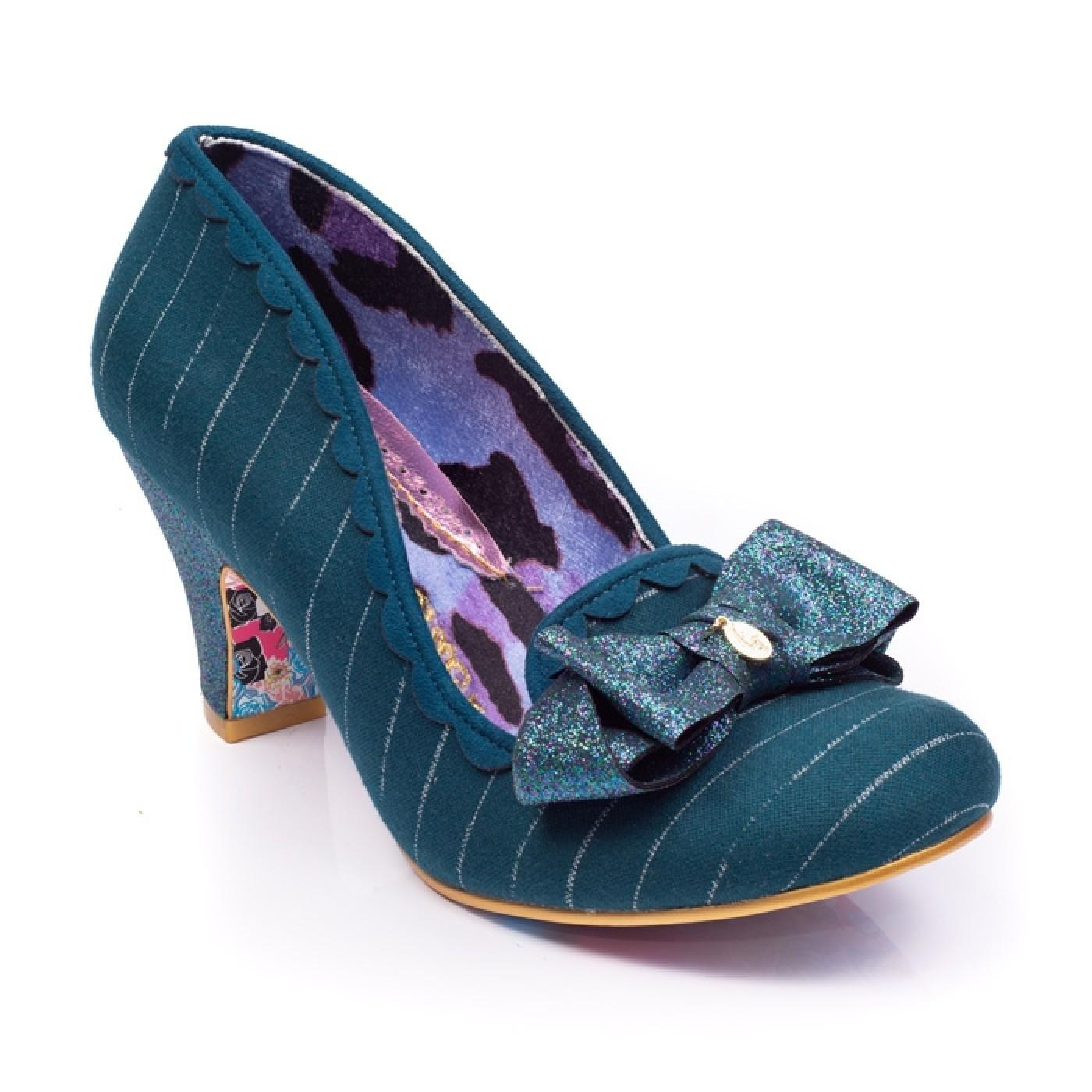 Kanjanka IRREGULAR CHOICE Pinstripe Bow Heels TEAL