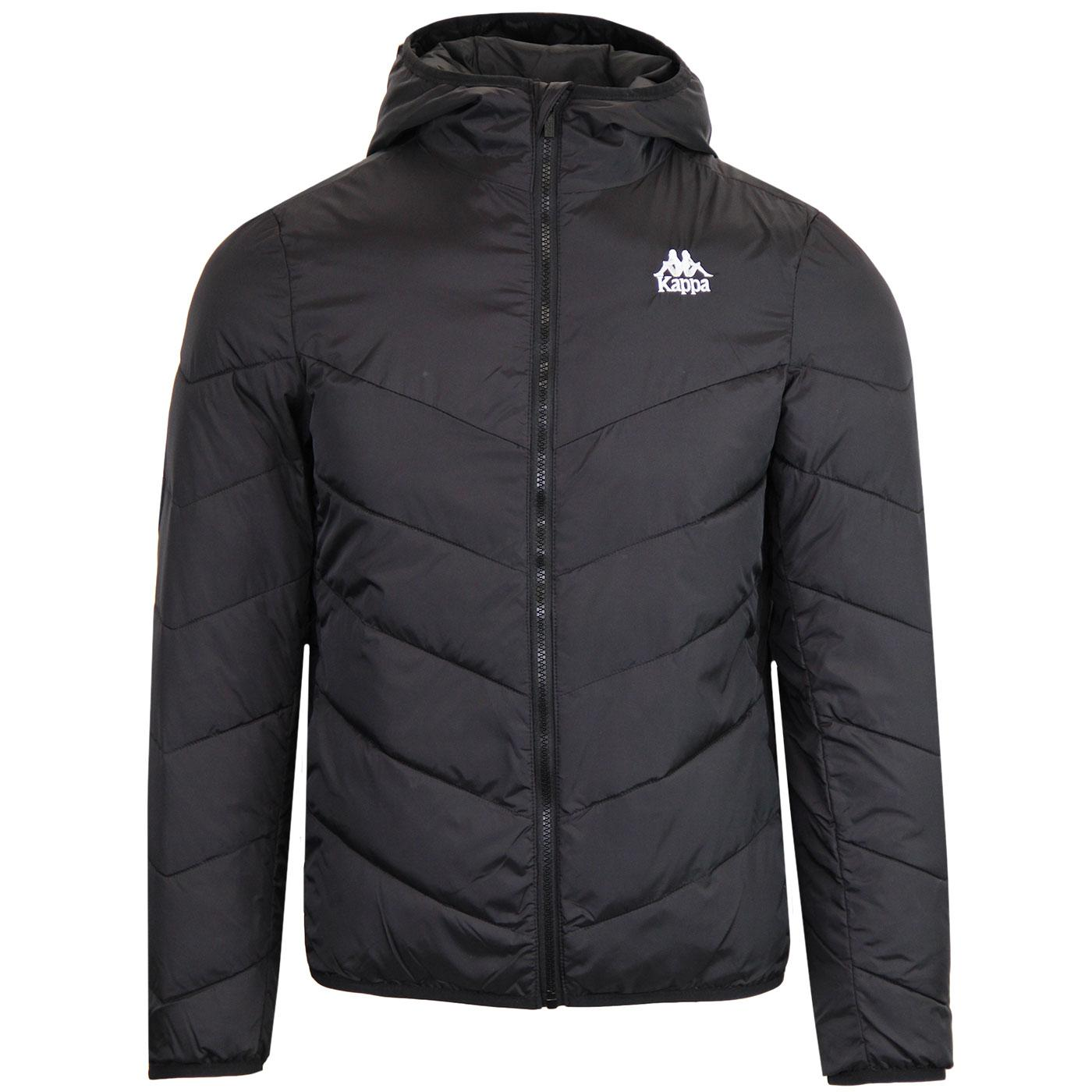 Amarit KAPPA Retro 80s Hooded Quilted Jacket BLACK
