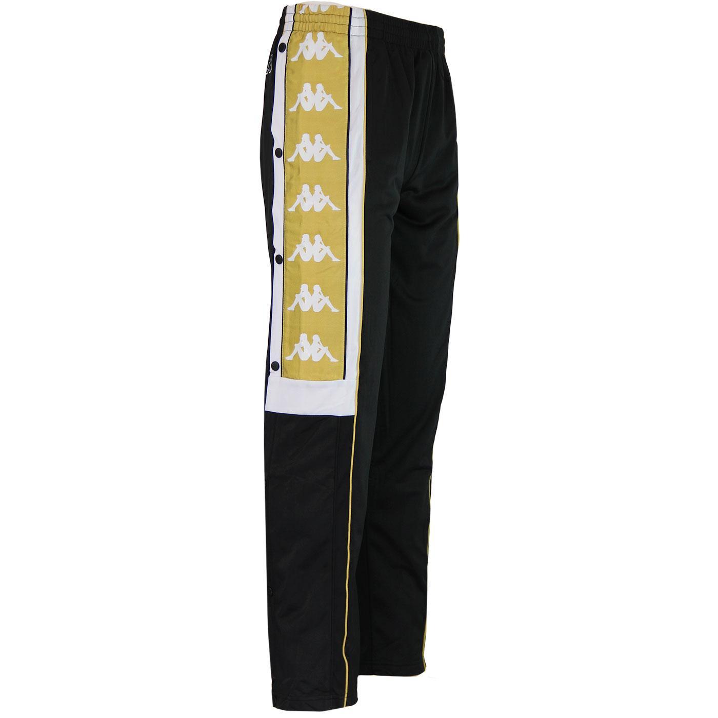 85b55d9cf8 KAPPA Banda Arpan Retro Popper Track Pants in Black/Gold
