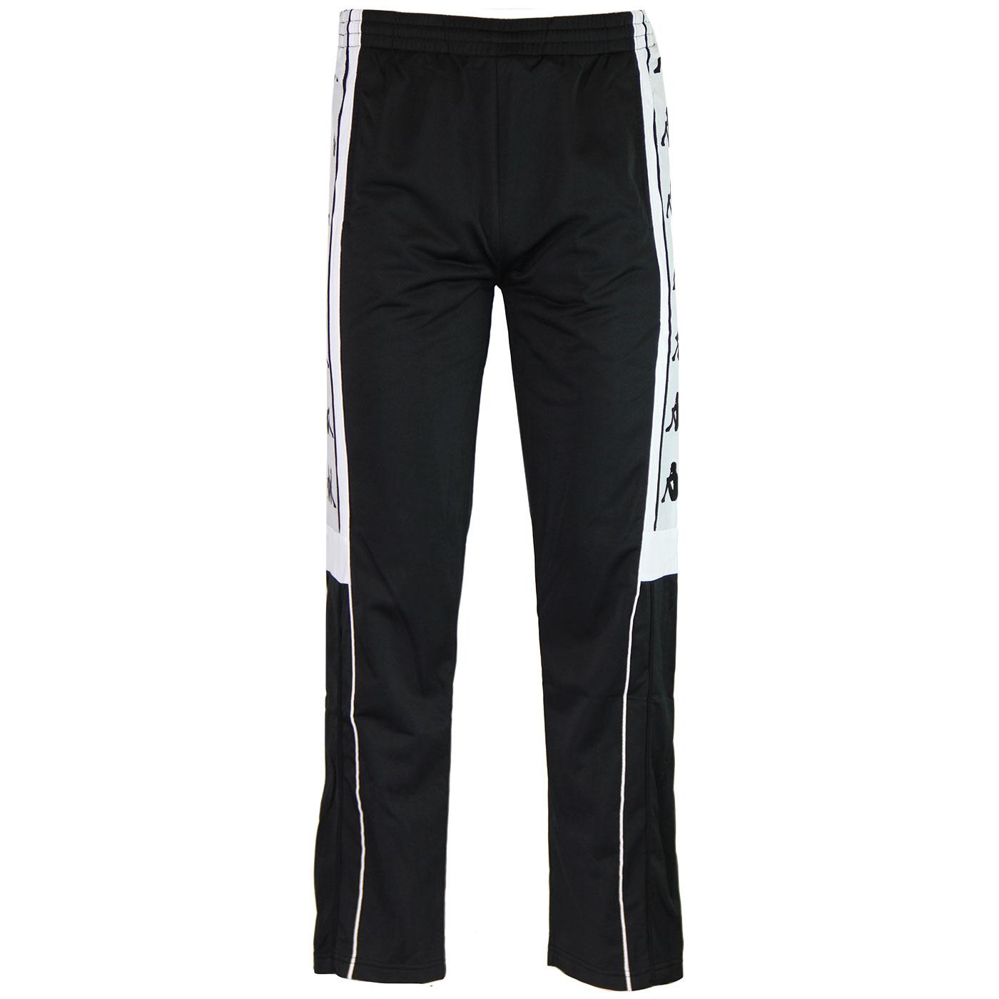 65fdd3c5b2fd KAPPA Banda Arpan Retro Popper Track Pants in Black White