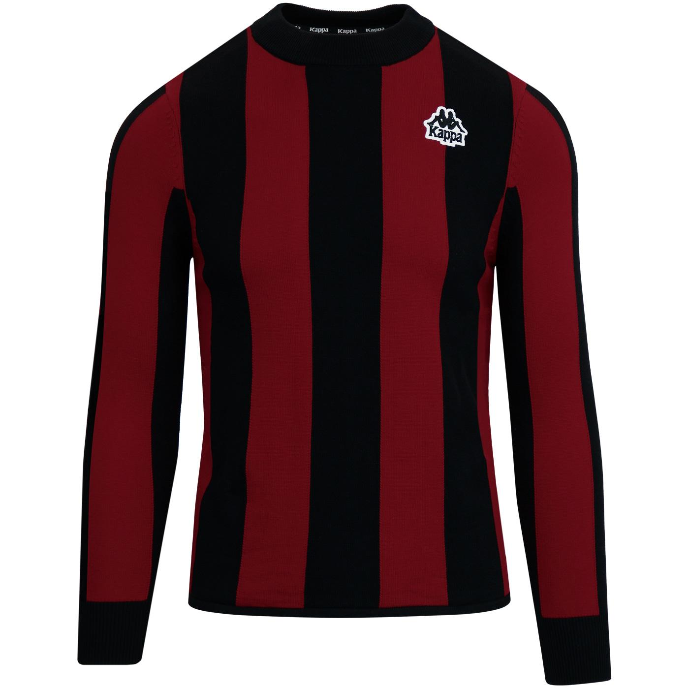 e5a184d6dcaa56 KAPPA Ayrone Retro 80s Football Stripe Jumper in Red/Black