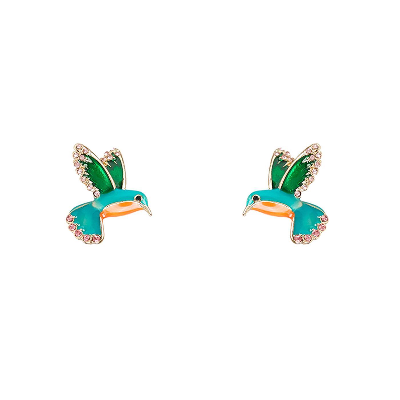 + Kiki LOUCHE Retro 1950s Hummingbird Earrings