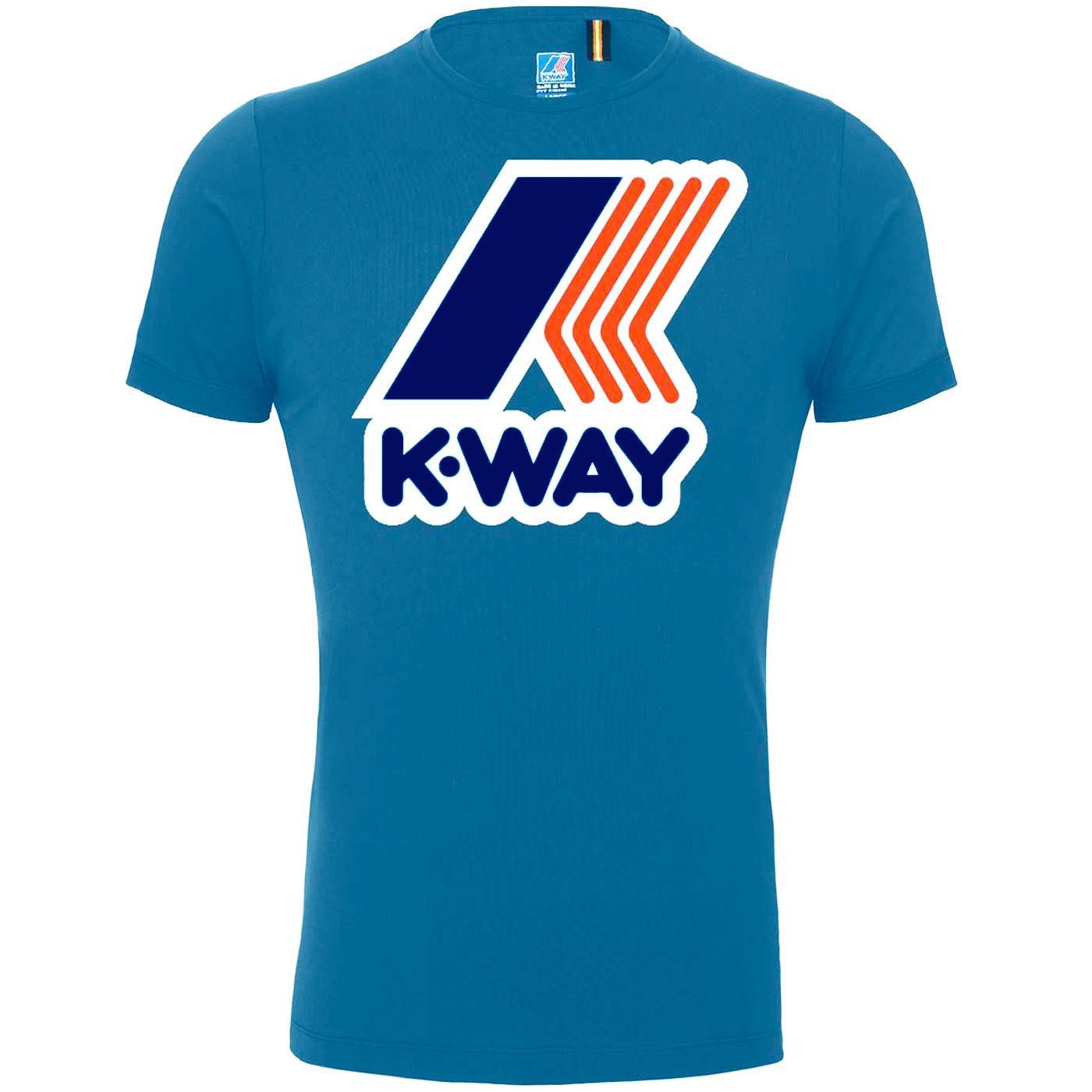K-WAY Pete Macro Logo Retro 1980s Tee (Blue Avio)