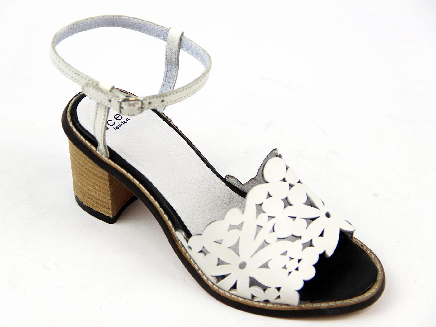 af4d24d9f81d0 LACEYS Danielle Cutouts Retro 60s Vintage Floral Sandals White