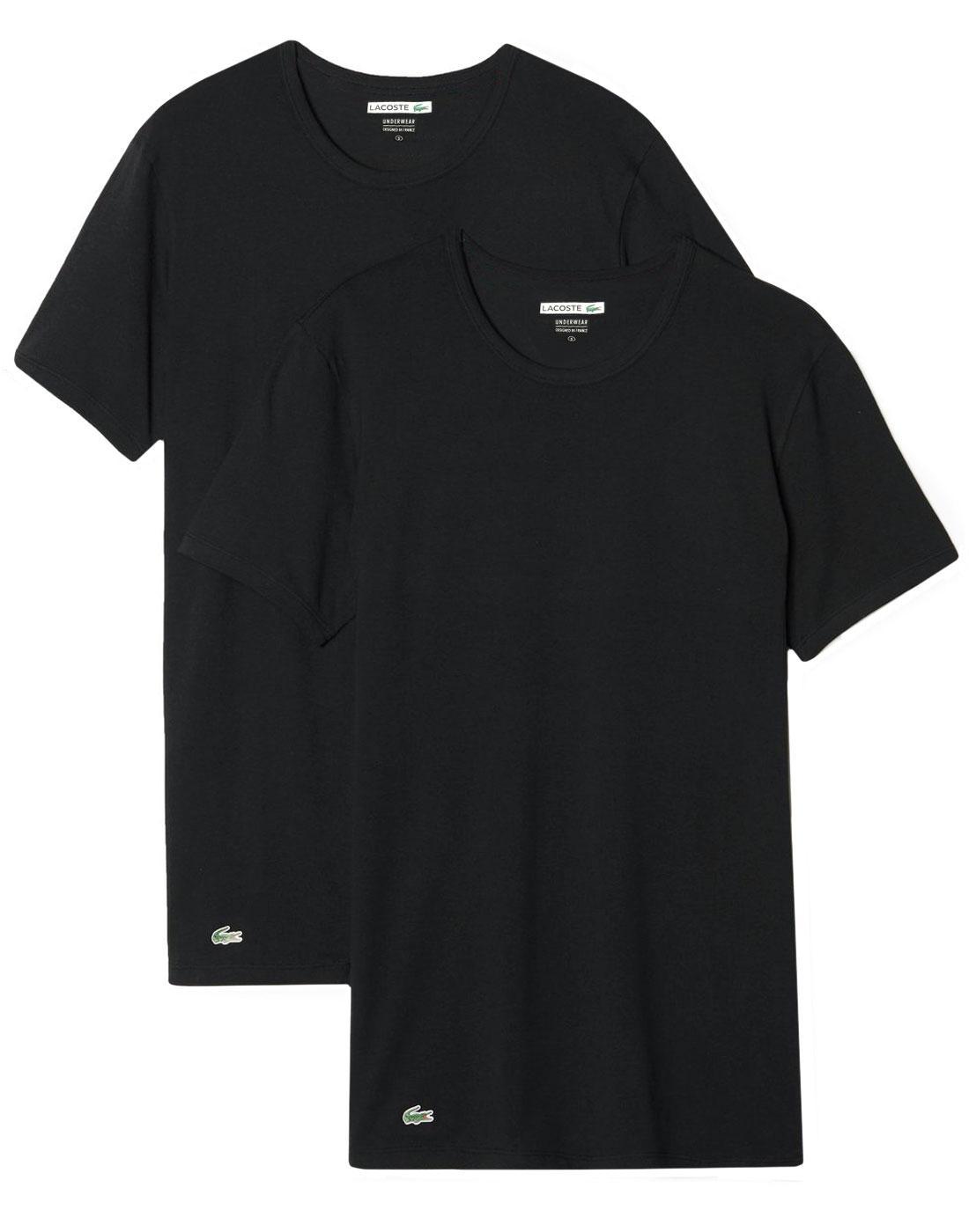 LACOSTE Men's 2 Pack Crew Neck T-Shirt - BLACK