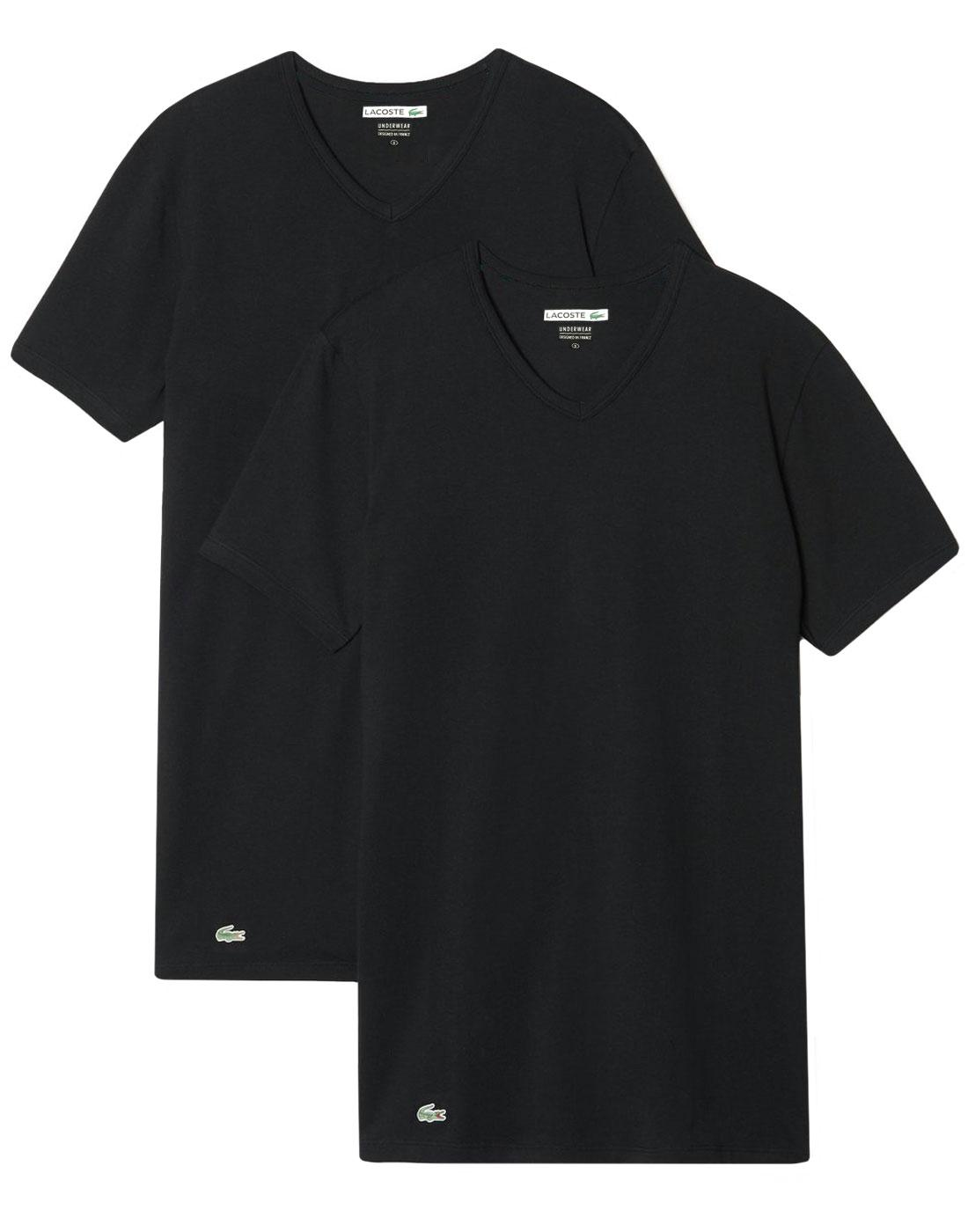 LACOSTE Men's Retro 2 Pack V-Neck T-Shirt - BLACK