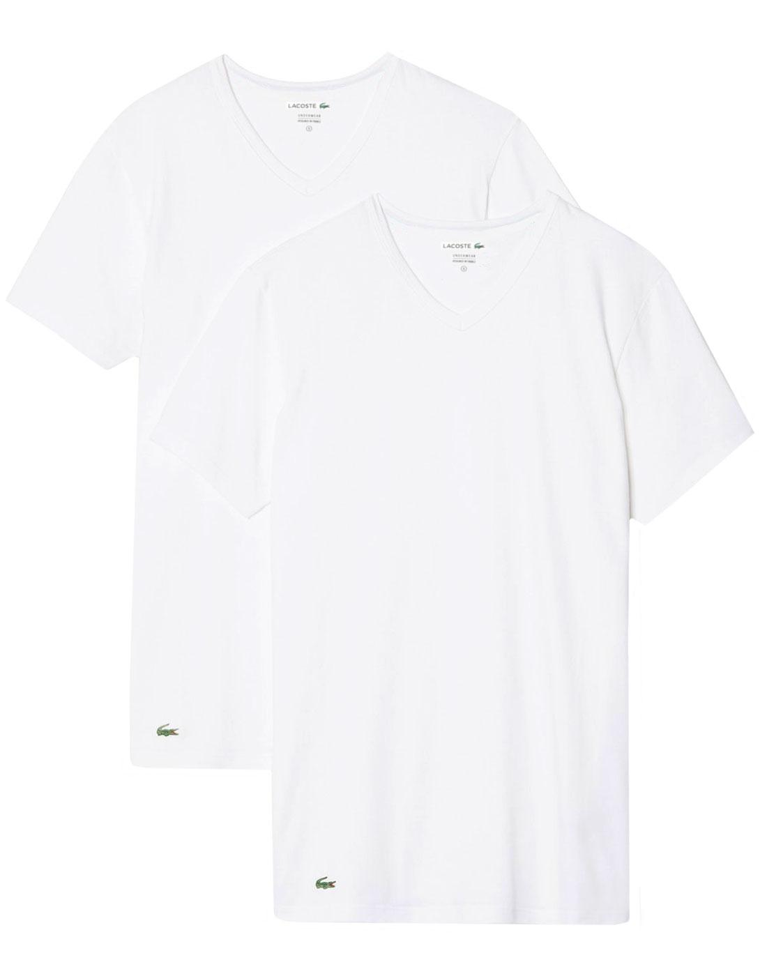 LACOSTE Men's Retro 2 Pack V-Neck T-Shirt - WHITE