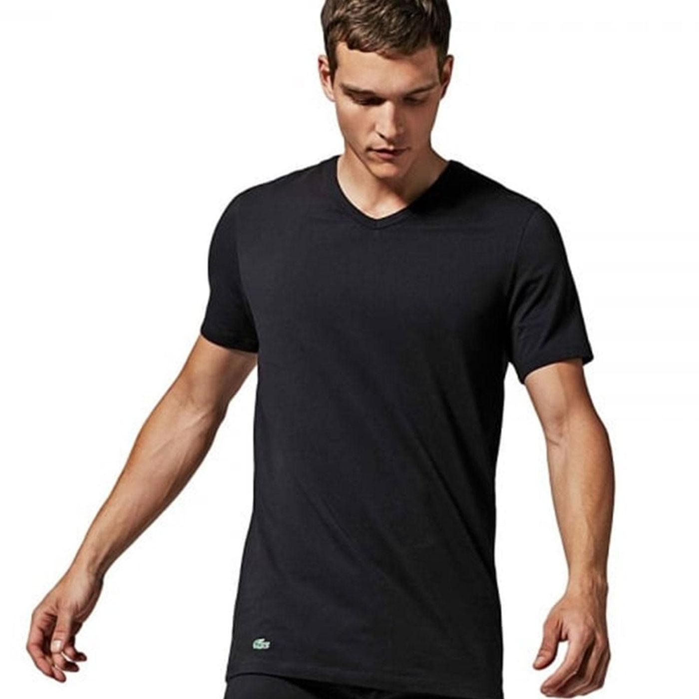 Discounter bieten eine große Auswahl an Geschäft LACOSTE Men's 2 Pack Crew Neck T-Shirt - BLACK
