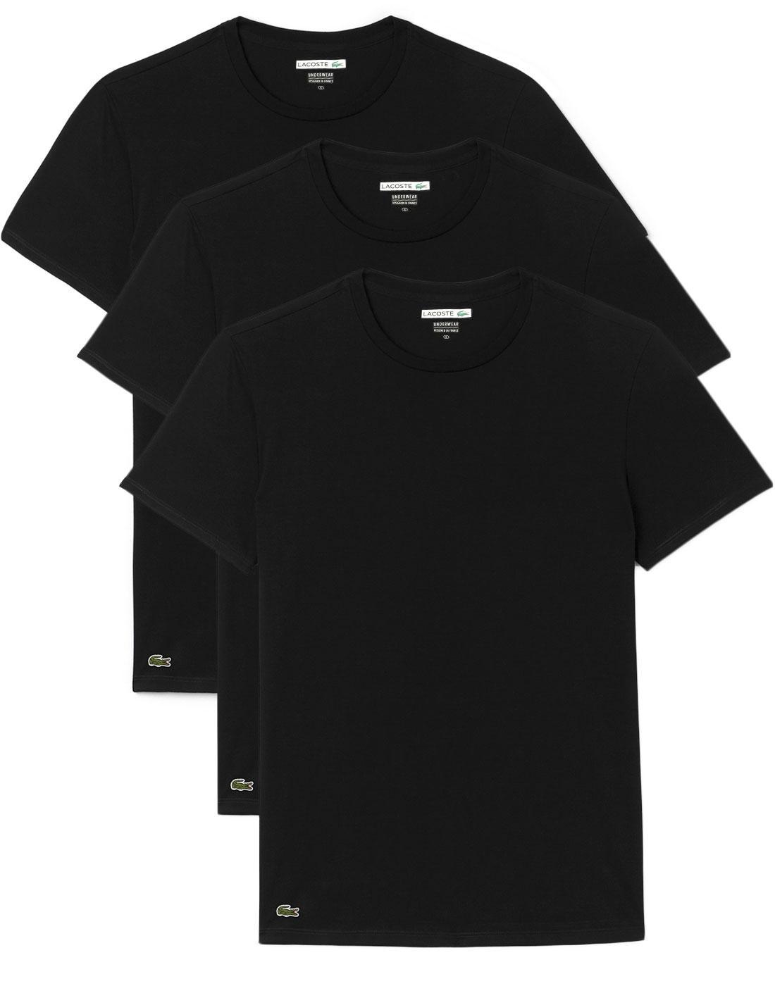 LACOSTE Men's 3 Pack Crew Neck T-Shirt - BLACK