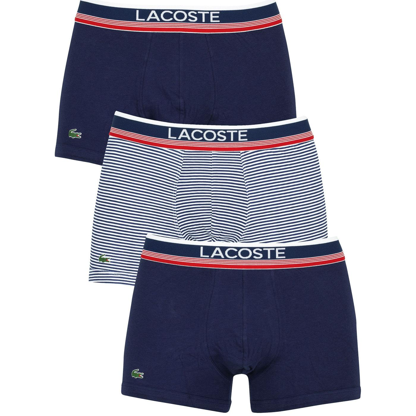 + LACOSTE Mens 3 Pack Stripe Retro Trunks - BLUE