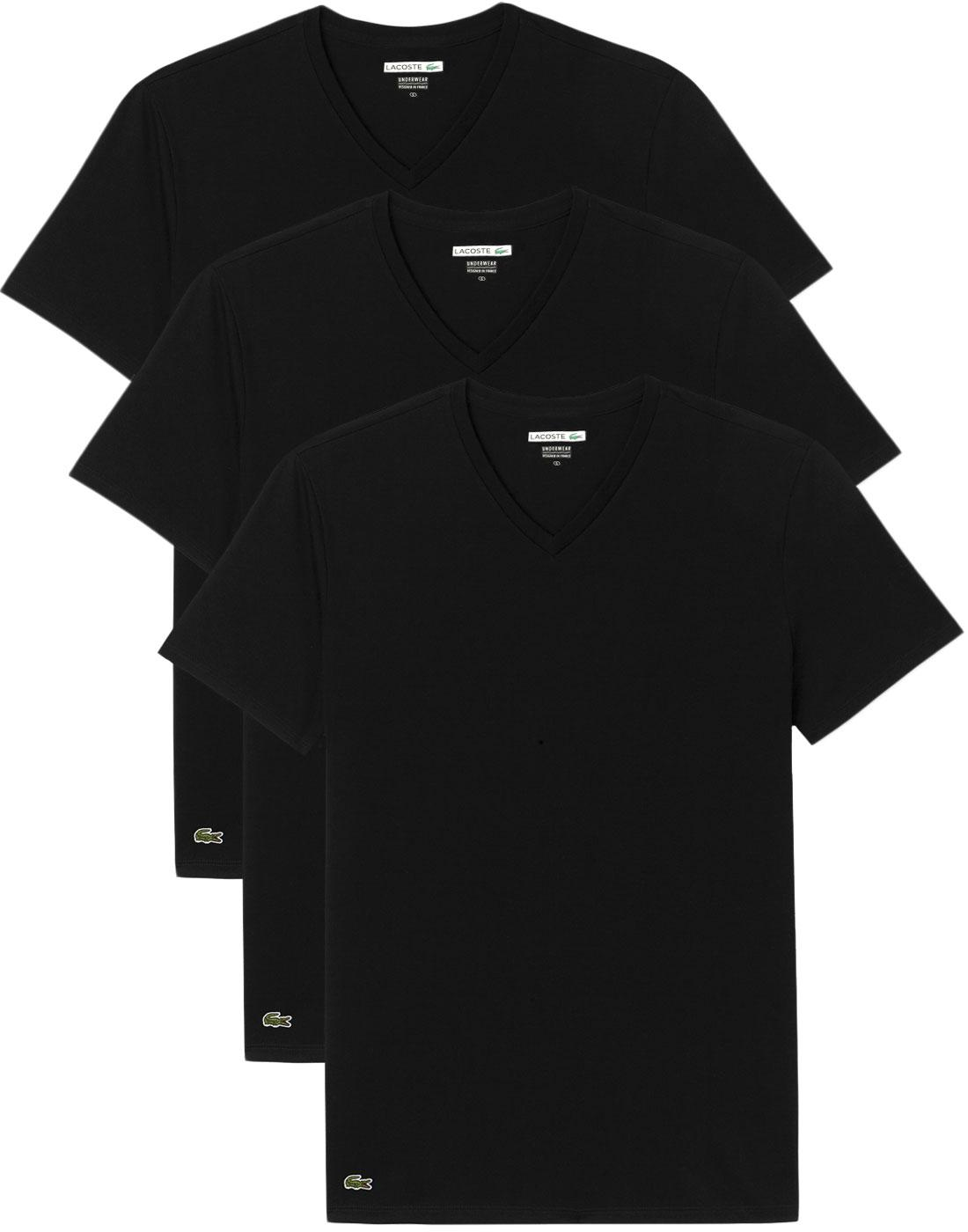 LACOSTE Men's 3 Pack Boxed V-Neck T-Shirt - BLACK