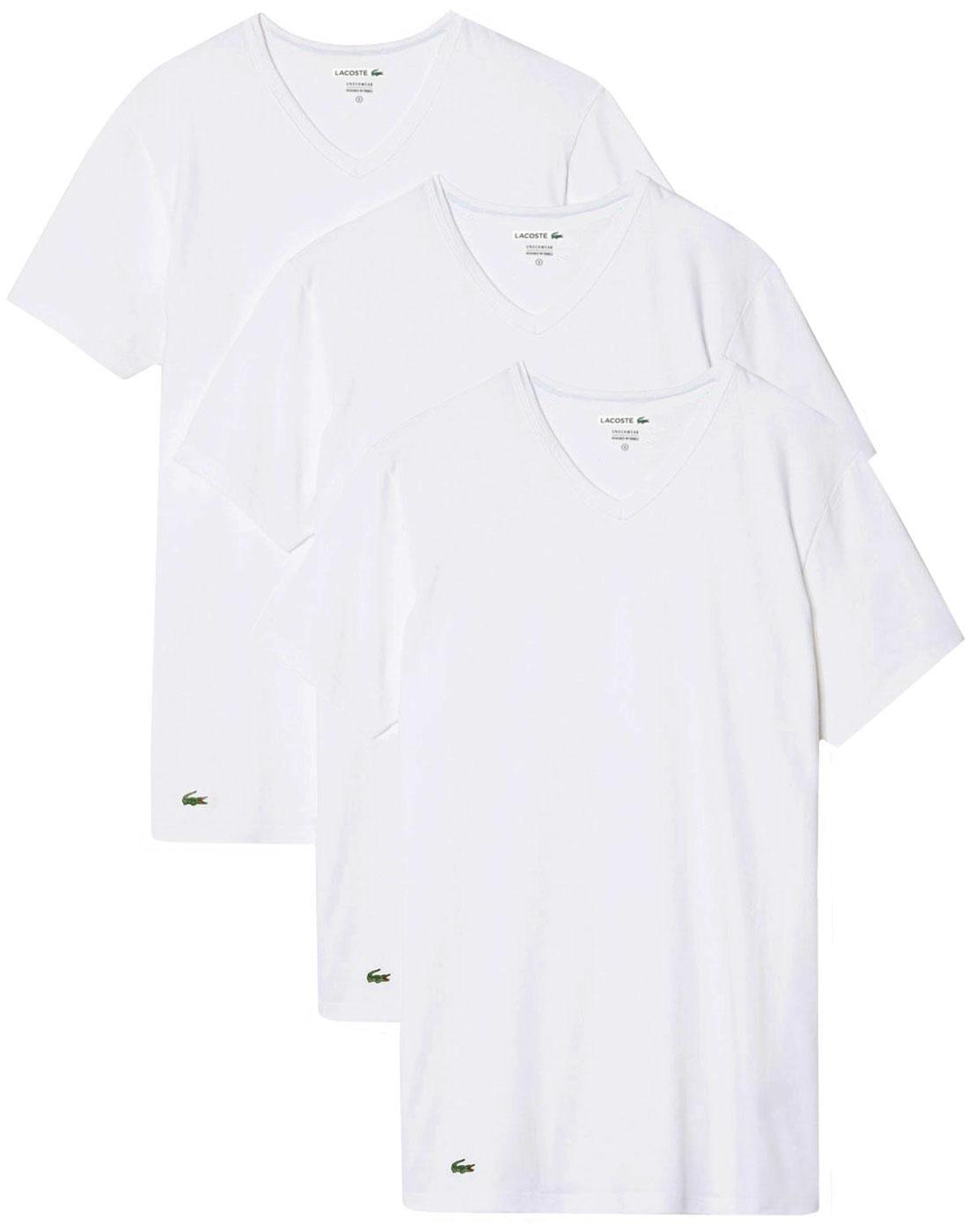 LACOSTE Men's 3 Pack Boxed V-Neck T-Shirt - WHITE