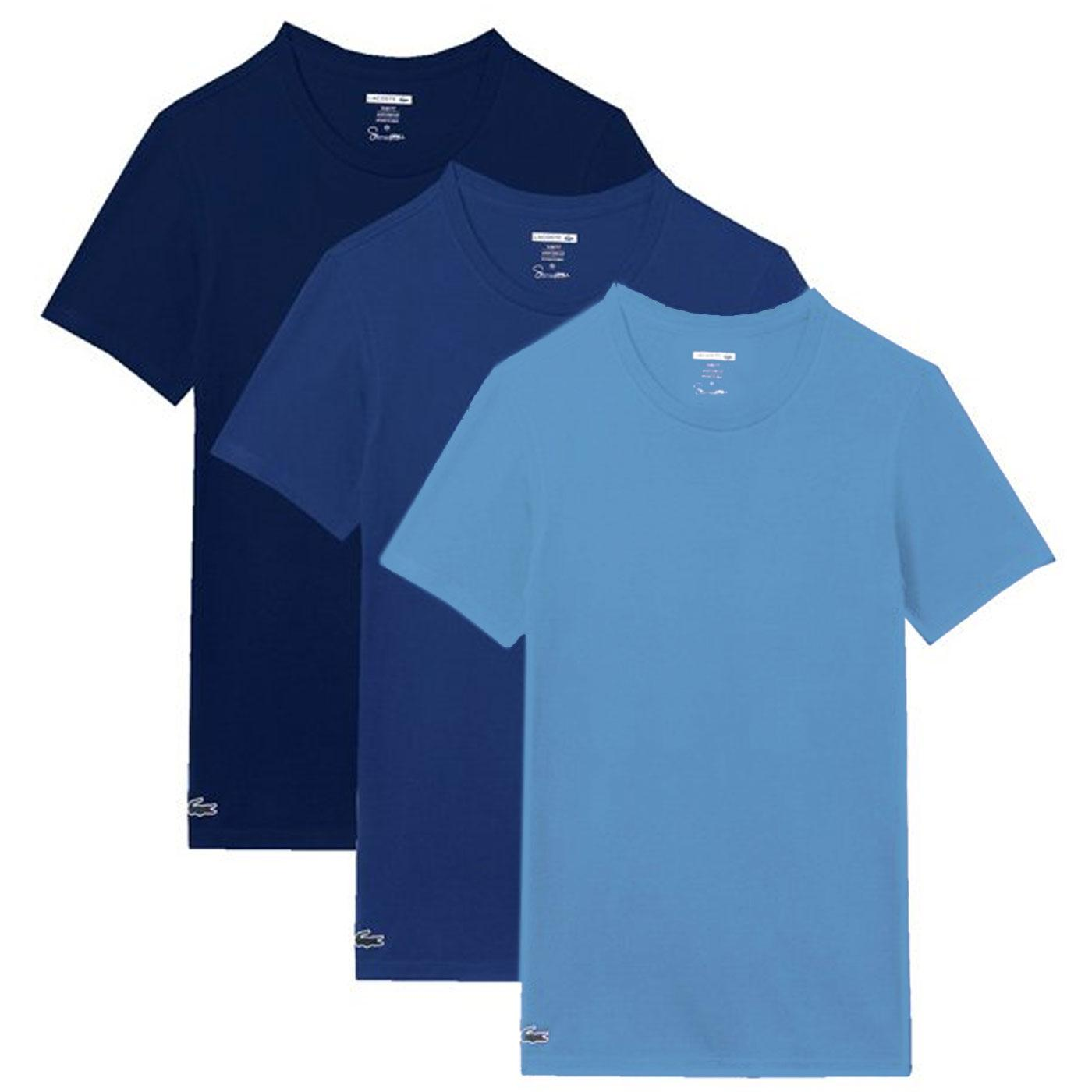LACOSTE Men's 3 Pack Crew Neck T-Shirts in Blues
