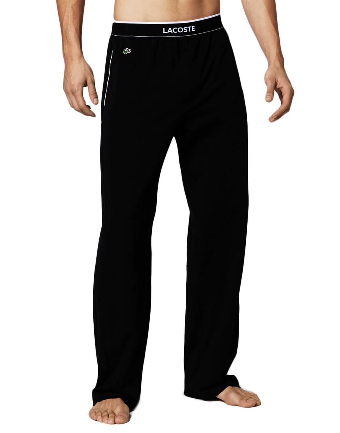 + LACOSTE Mens Retro Unicolour Lounge Pants Black